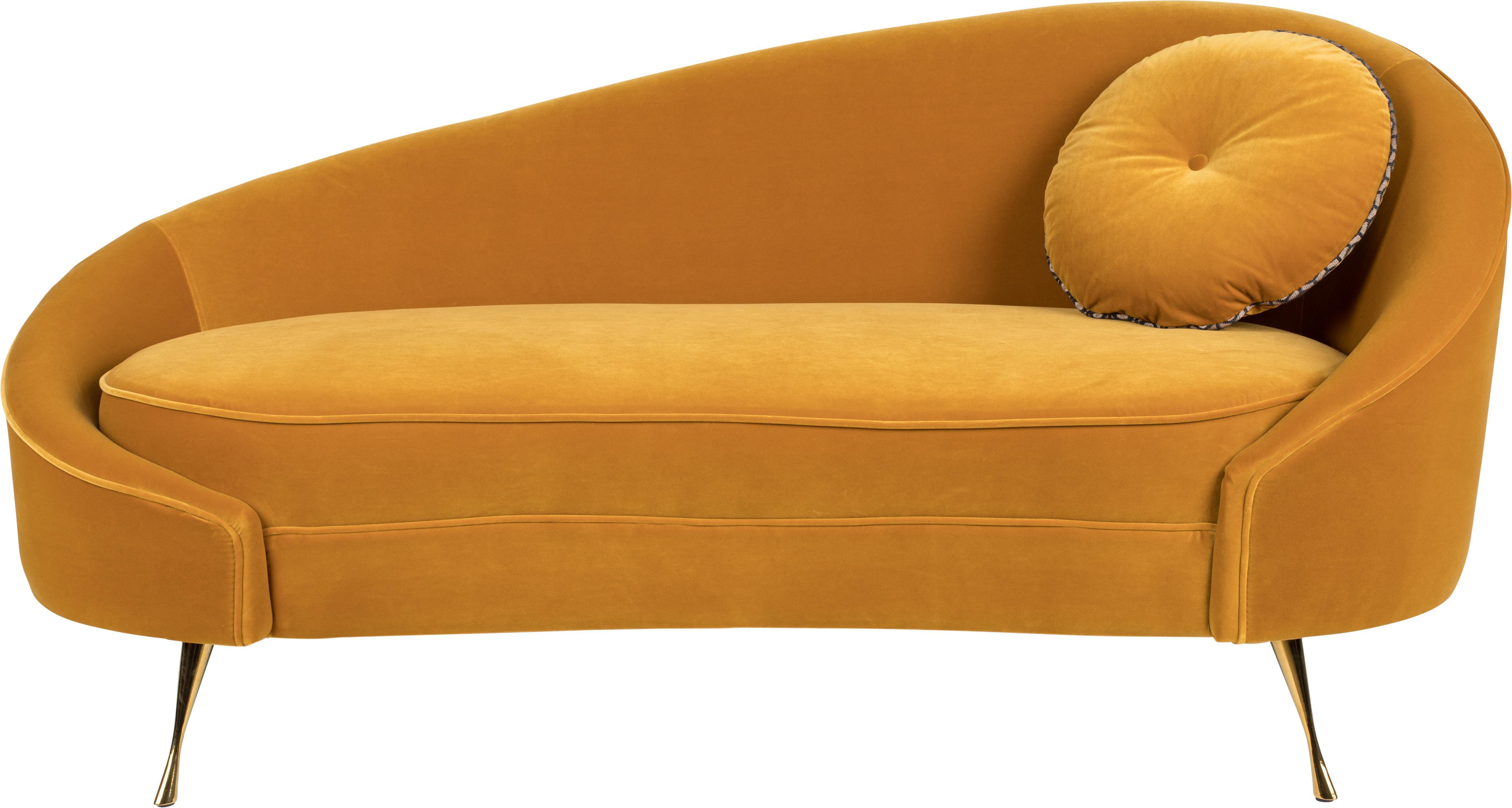 Sofá de terciopelo I Am Not A Croissant (2plazas), Tapizado: terciopelo de poliéster 3, Patas: acero inoxidable recubier, Terciopelo ocre, An 168 x Al 76 cm