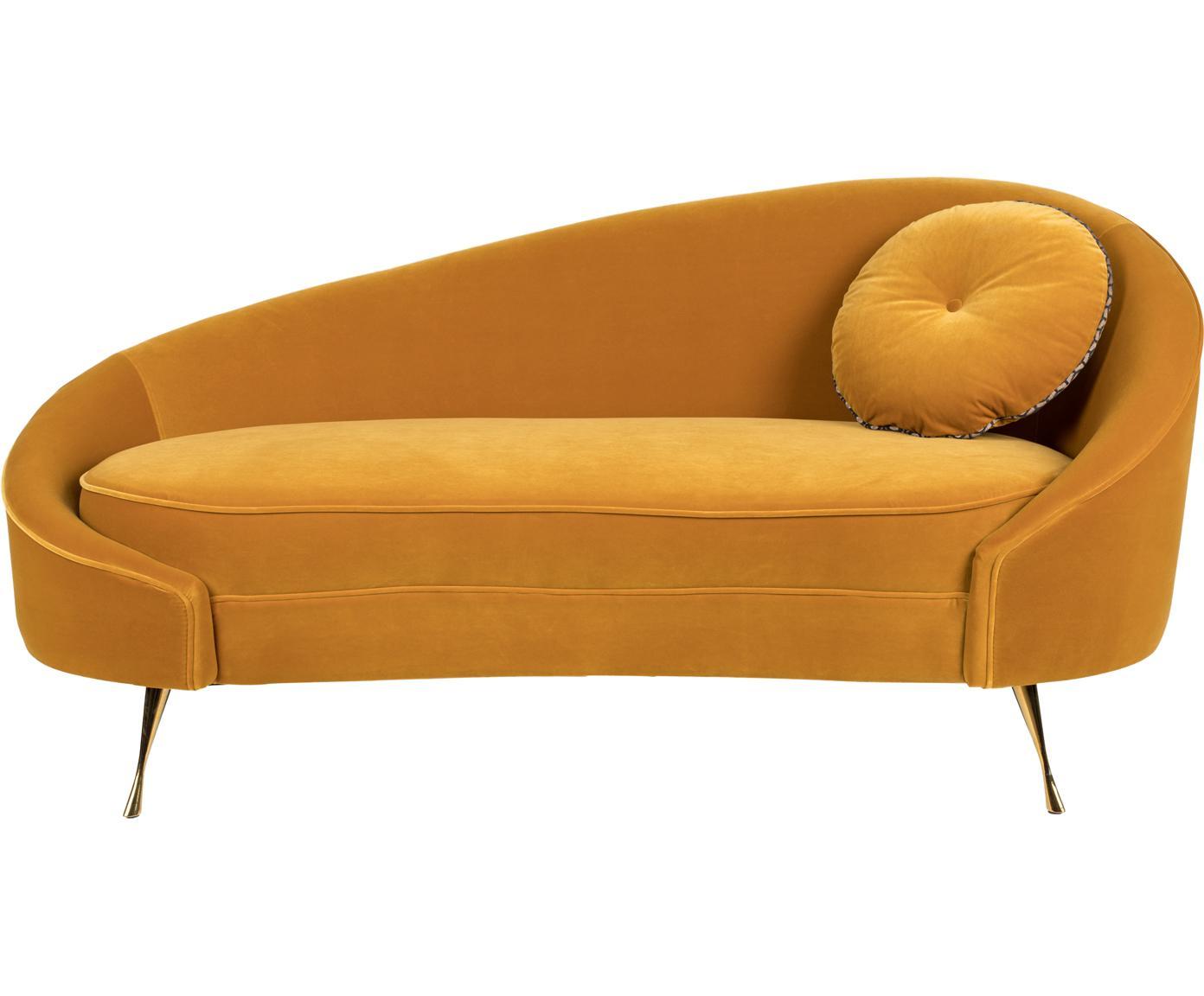 Sofa z aksamitu I Am Not A Croissant (2-osobowa), Tapicerka: aksamit poliestrowy 30 00, Nogi: stal szlachetna, powlekan, Brunatnożółty, S 168 x W 76 cm