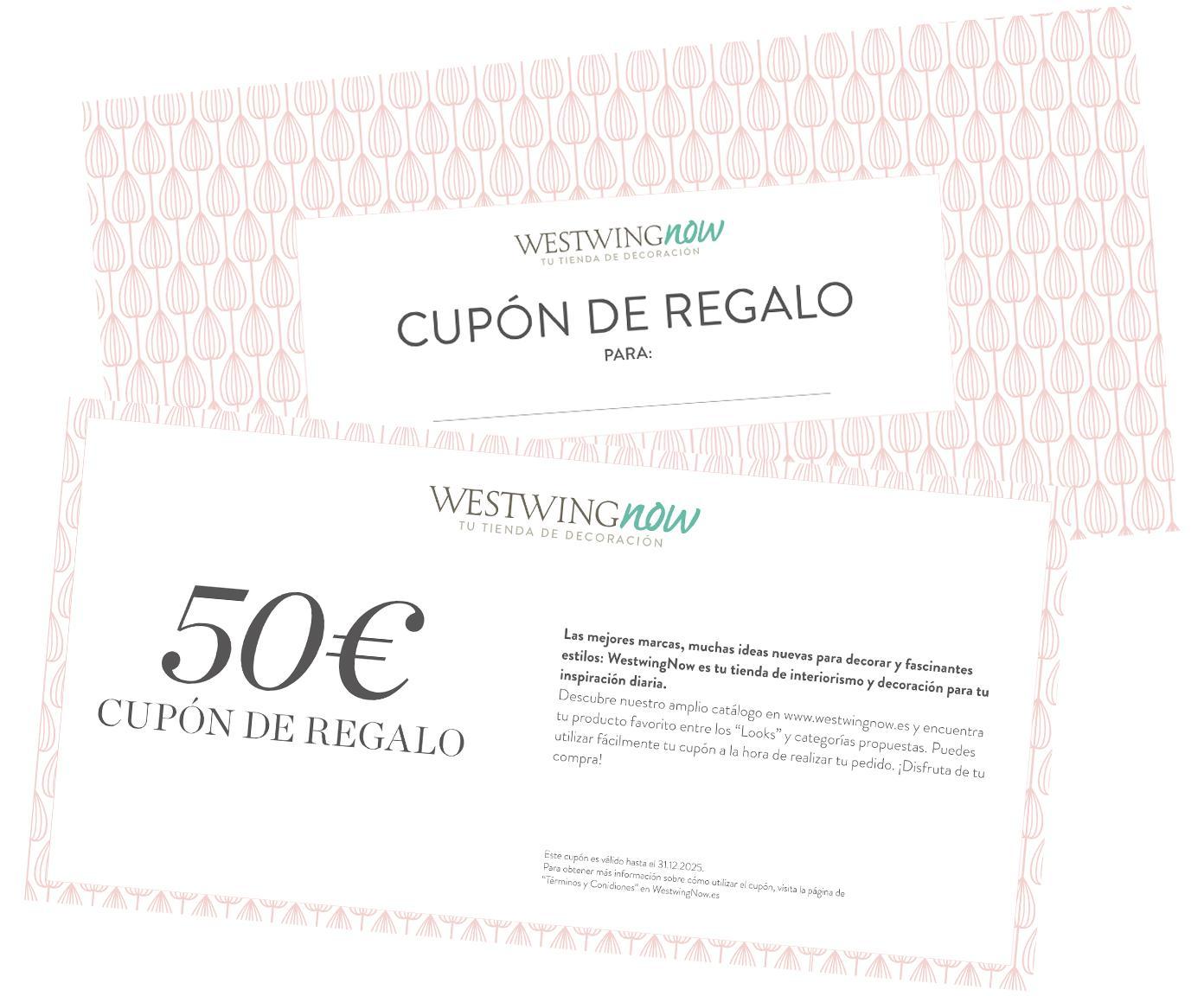 Cupón regalo, Cupón regalo impreso en papel fino dentro en un sobre de alta calidad, Blanco, 50