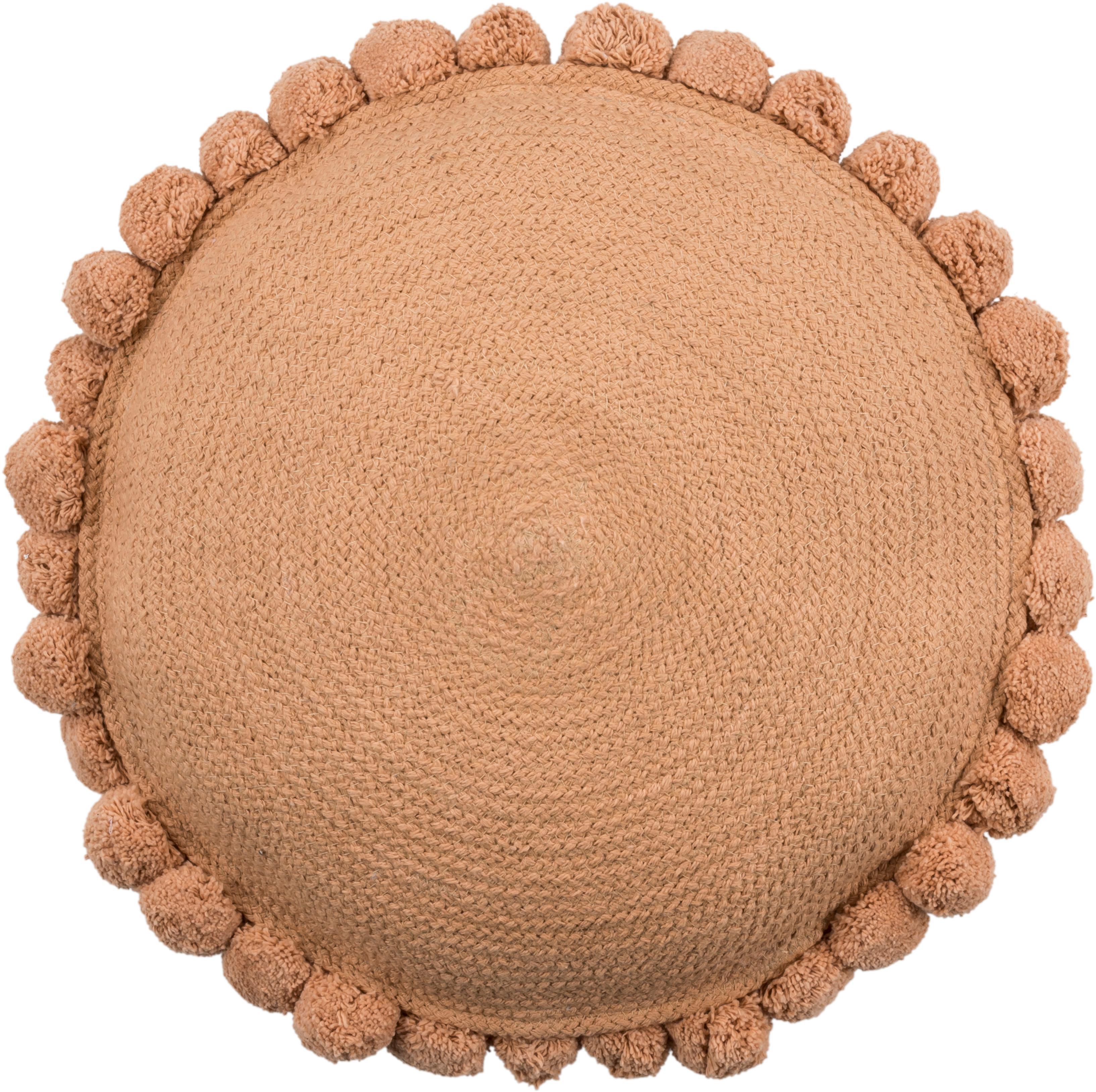 Cojín redondo de yute Pom Pom, con relleno, 100%algodón, Marrón, Ø 40