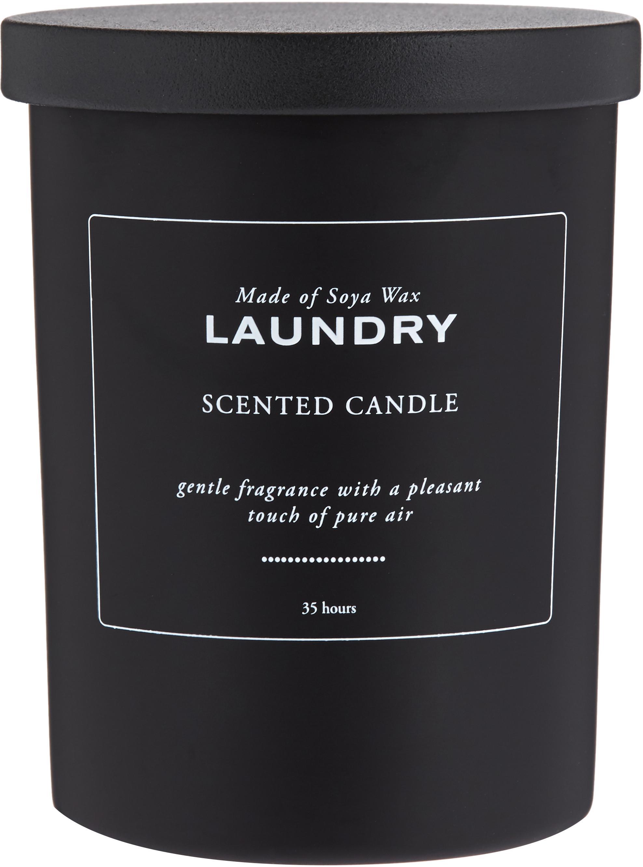 Candela profumata Laundry (bucato fresco), Contenitore: vetro, Coperchio: legno, Nero, bianco, Ø 8 x A 10 cm