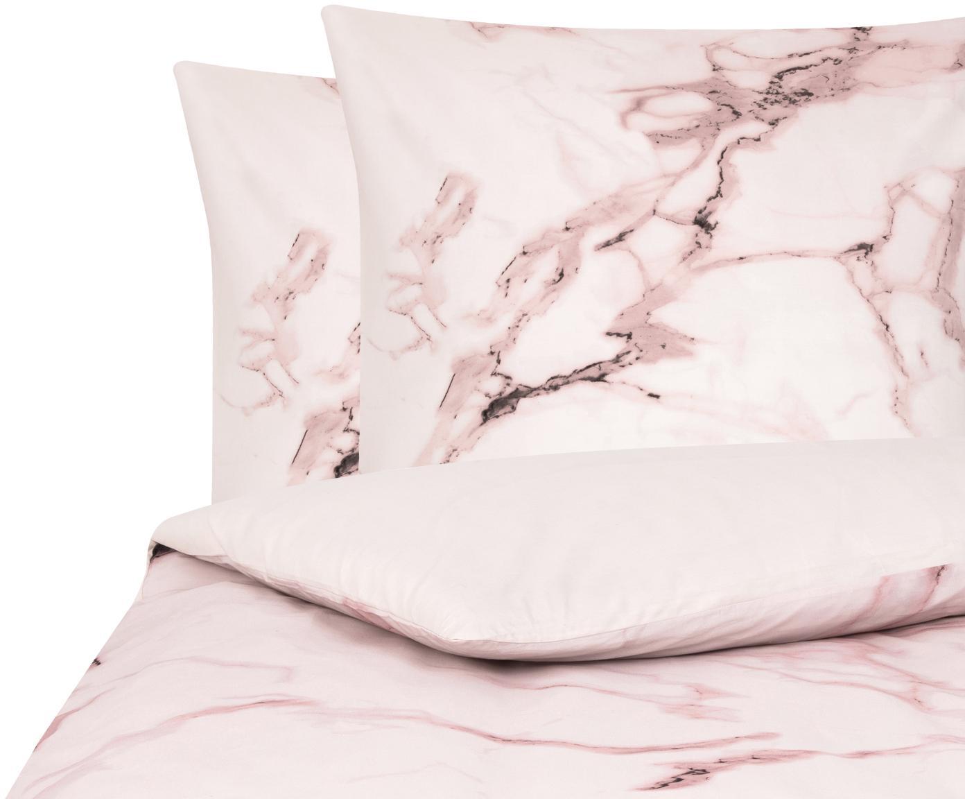 Baumwollperkal-Bettwäsche Malin mit Marmor-Muster, Webart: Perkal Fadendichte 200 TC, Marmormuster, Rosa, 240 x 220 cm + 2 Kissen 80 x 80 cm