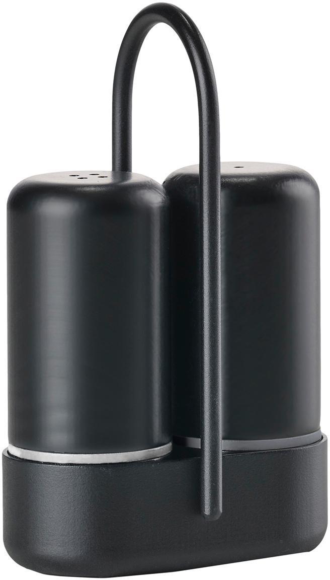 Set de salero y pimentero Henk, 3pzas., Botes: plástico (ABS), Estructura: metal, Negro, An 7 x F 3cm