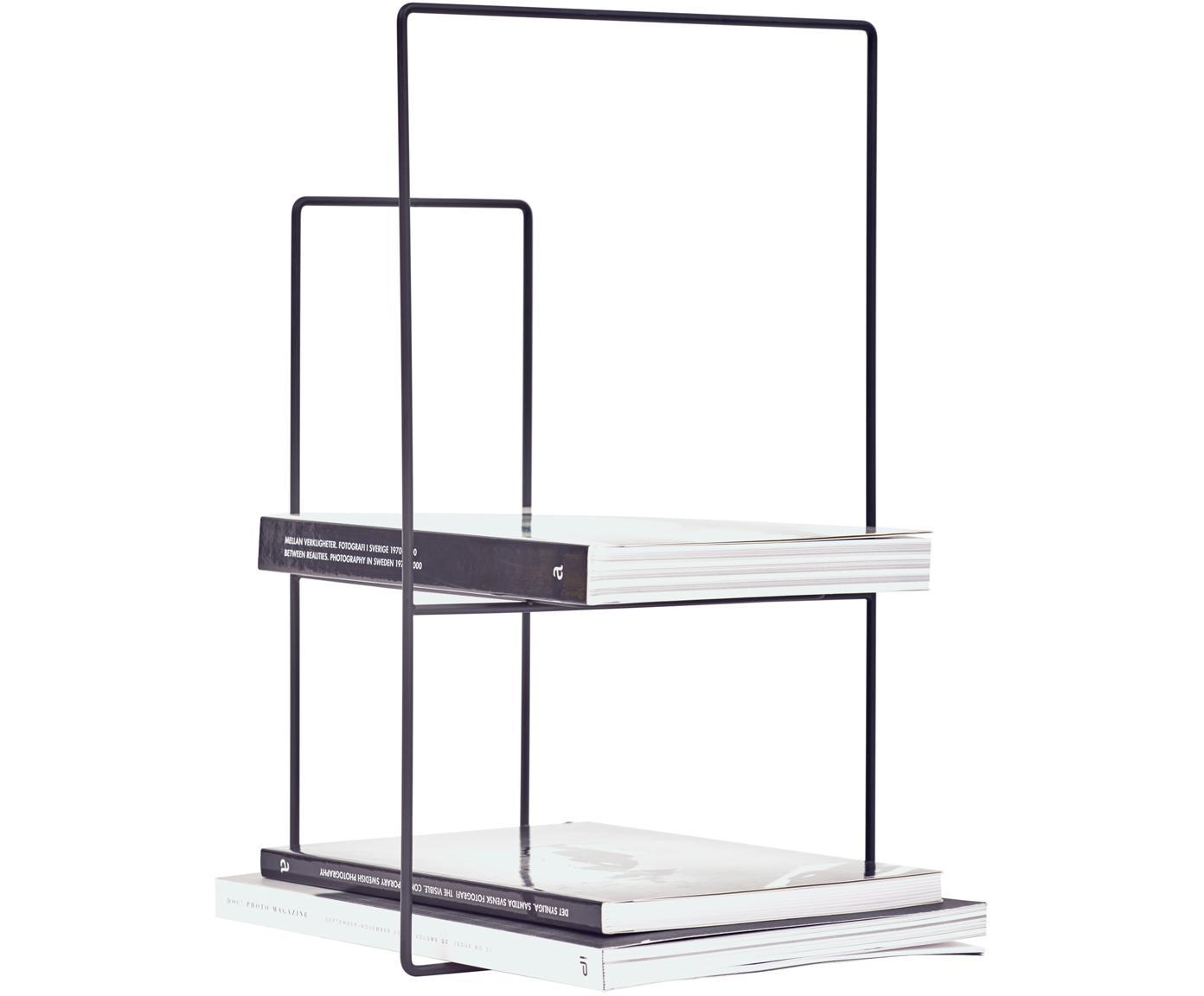 Boekenrek Rewire van metaal, Gepoedercoat metaal, Zwart, 29 x 46 cm