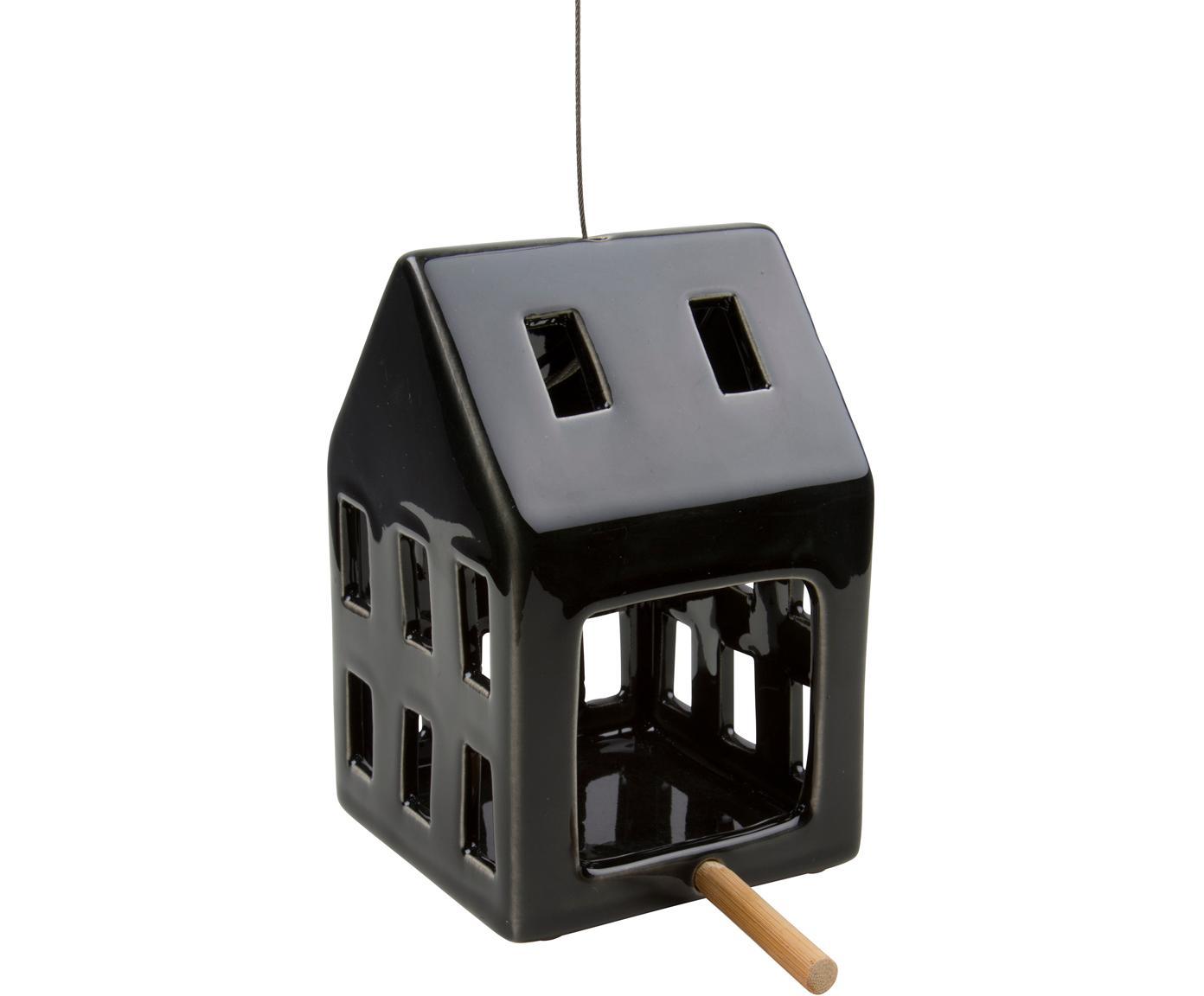 Comedero para pájaros Hemma, Cerámica, bambú, metal, Negro, An 9 x Al 14 cm