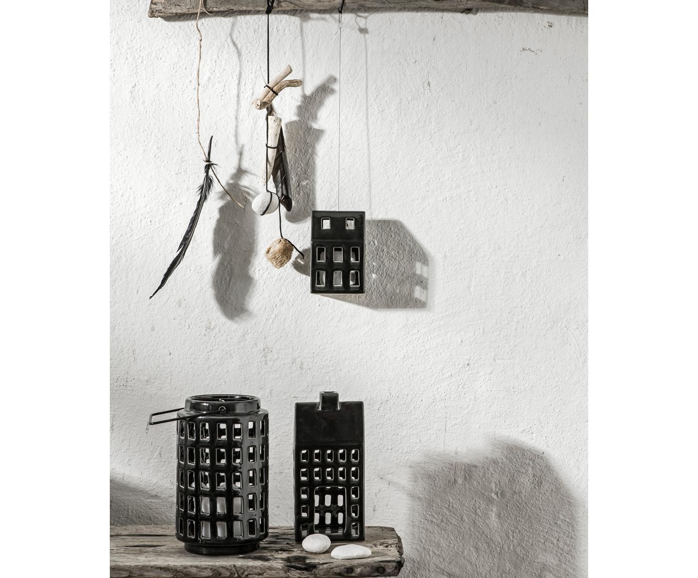 Karmnik dla ptaków Hemma, Ceramika, drewno bambusowe, metal, Czarny, S 9 x W 14 cm
