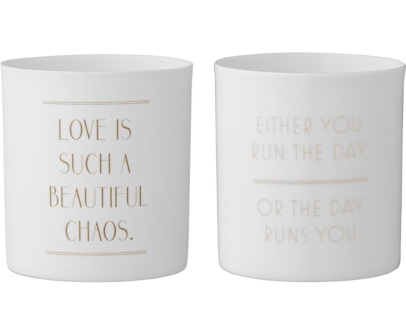 Teelichthalter-Set Chaos, 2-tlg., Porzellan, Weiß, Goldfarben, Ø 6 x H 8 cm