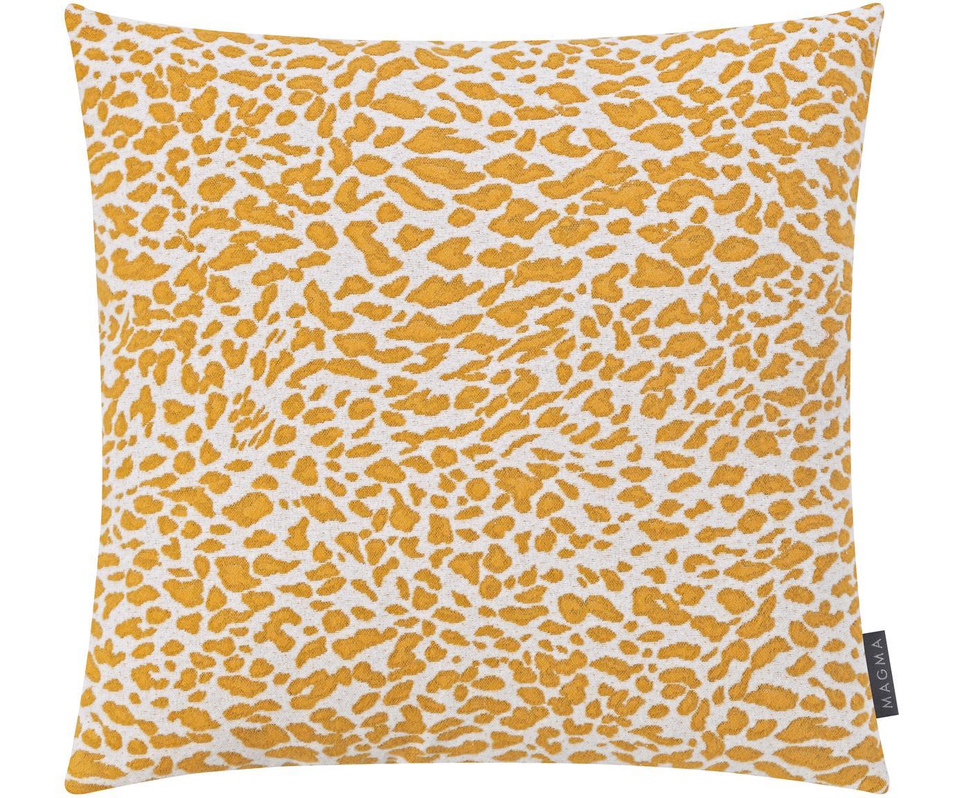 Kissenhülle Leopardo mit gelb/weissem Muster, Vorderseite: 59%Baumwolle, 41%Polyes, Webart: Jacquard, Senfgelb, Weiss, 50 x 50 cm