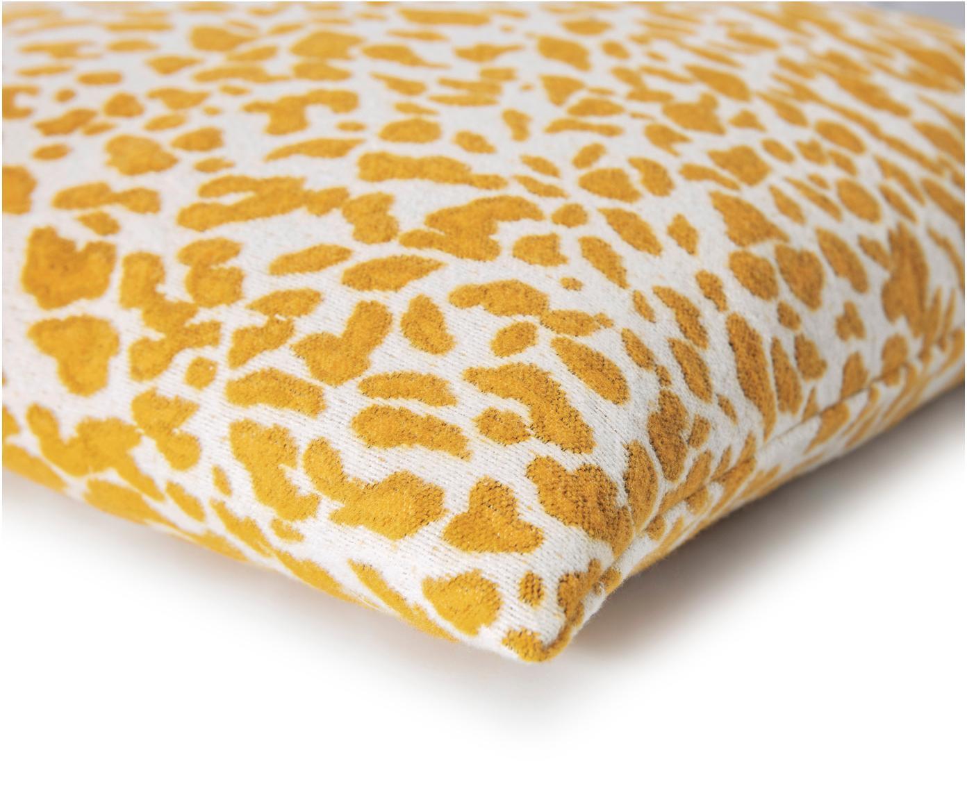 Housse de coussin 50x50 jaune Leopardo, Jaune moutarde, blanc