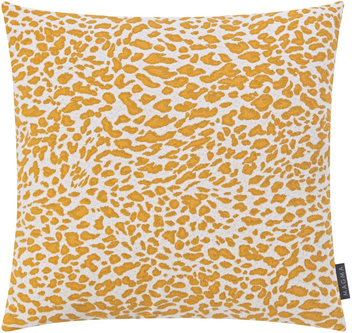 Kissenhülle Leopardo mit gelb/weißem Muster, Vorderseite: 59%Baumwolle, 41%Polyes, Webart: Jacquard, Senfgelb, Weiß, 50 x 50 cm