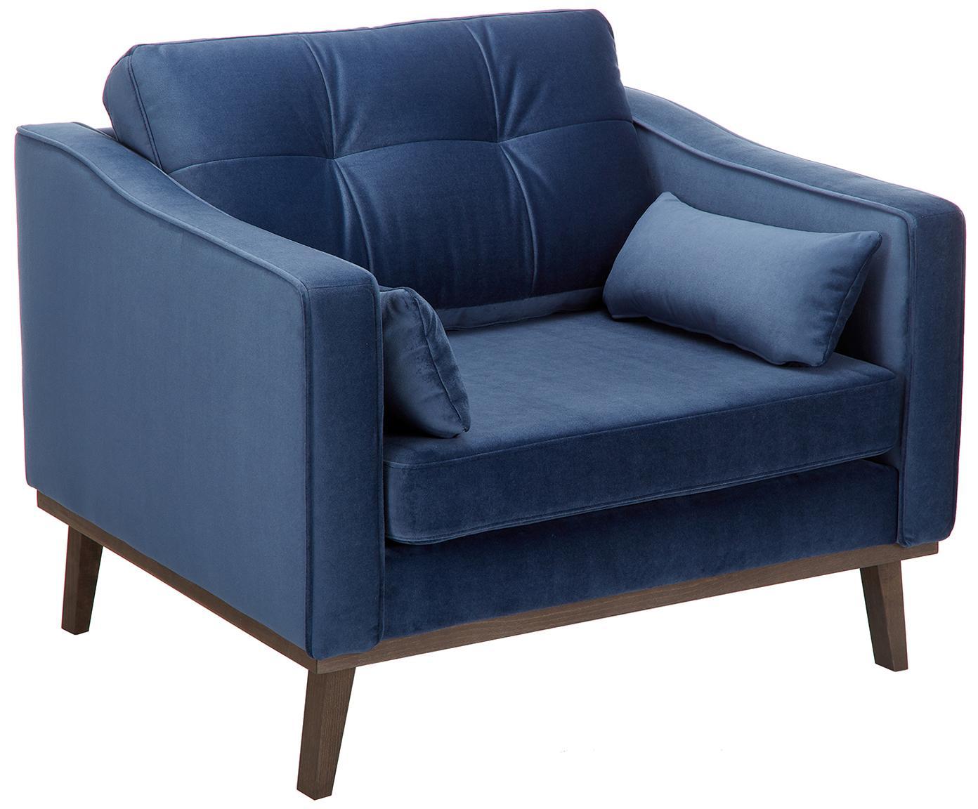 Fotel z aksamitu Alva, Tapicerka: aksamit (wysokiej jakości, Stelaż: drewno sosnowe, Nogi: lite drewno bukowe, barwi, Tapicerka: marynarski granat Nogi: drewno bukowe, bejcowane na ciemno, S 102 x G 94 cm