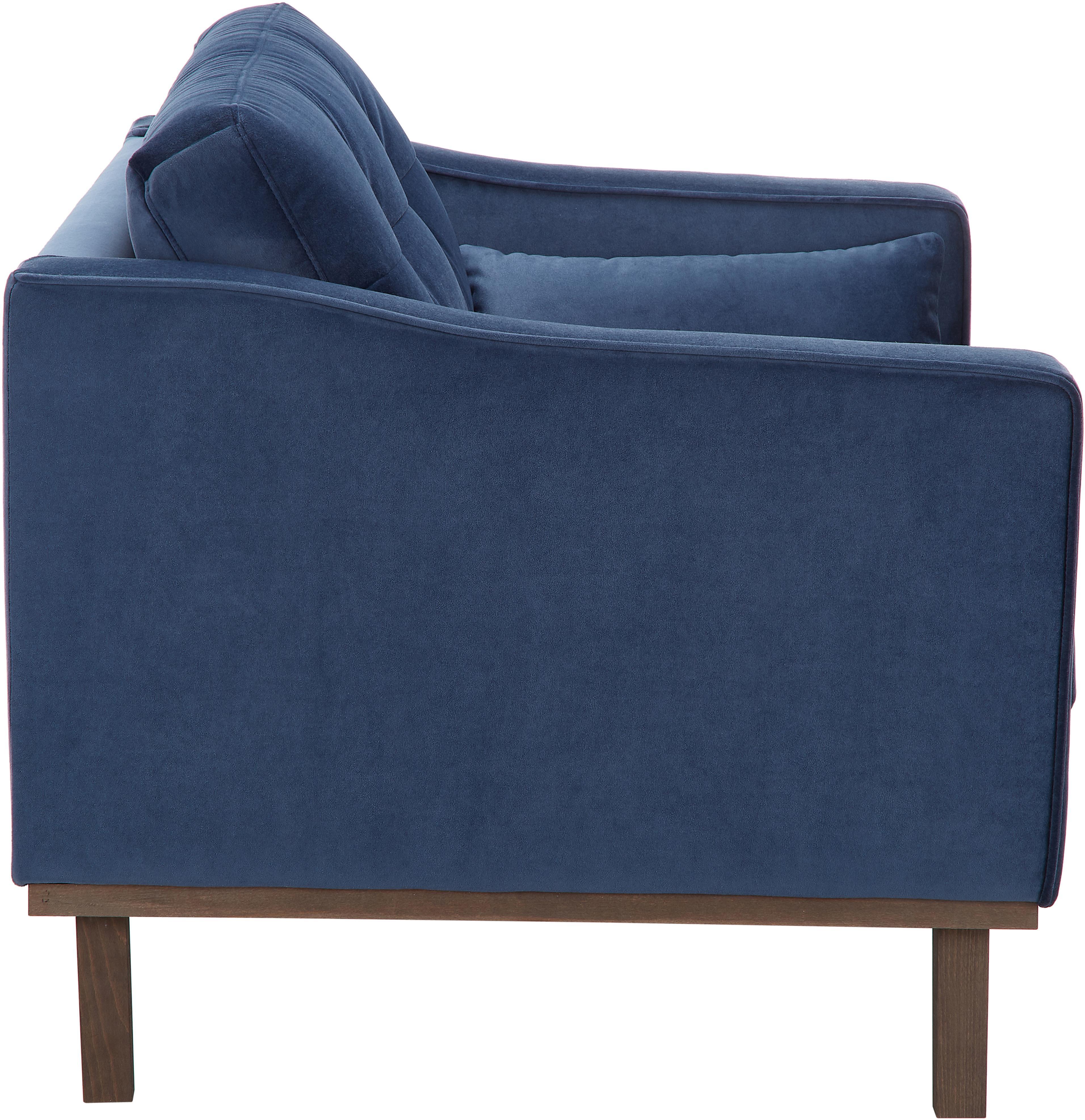 Klassischer Samt-Sessel Alva in Blau, Bezug: Samt (Hochwertiger Polyes, Gestell: Massives Kiefernholz, Füße: Massives Buchenholz, gebe, Samt Dunkelblau, B 102 x T 92 cm