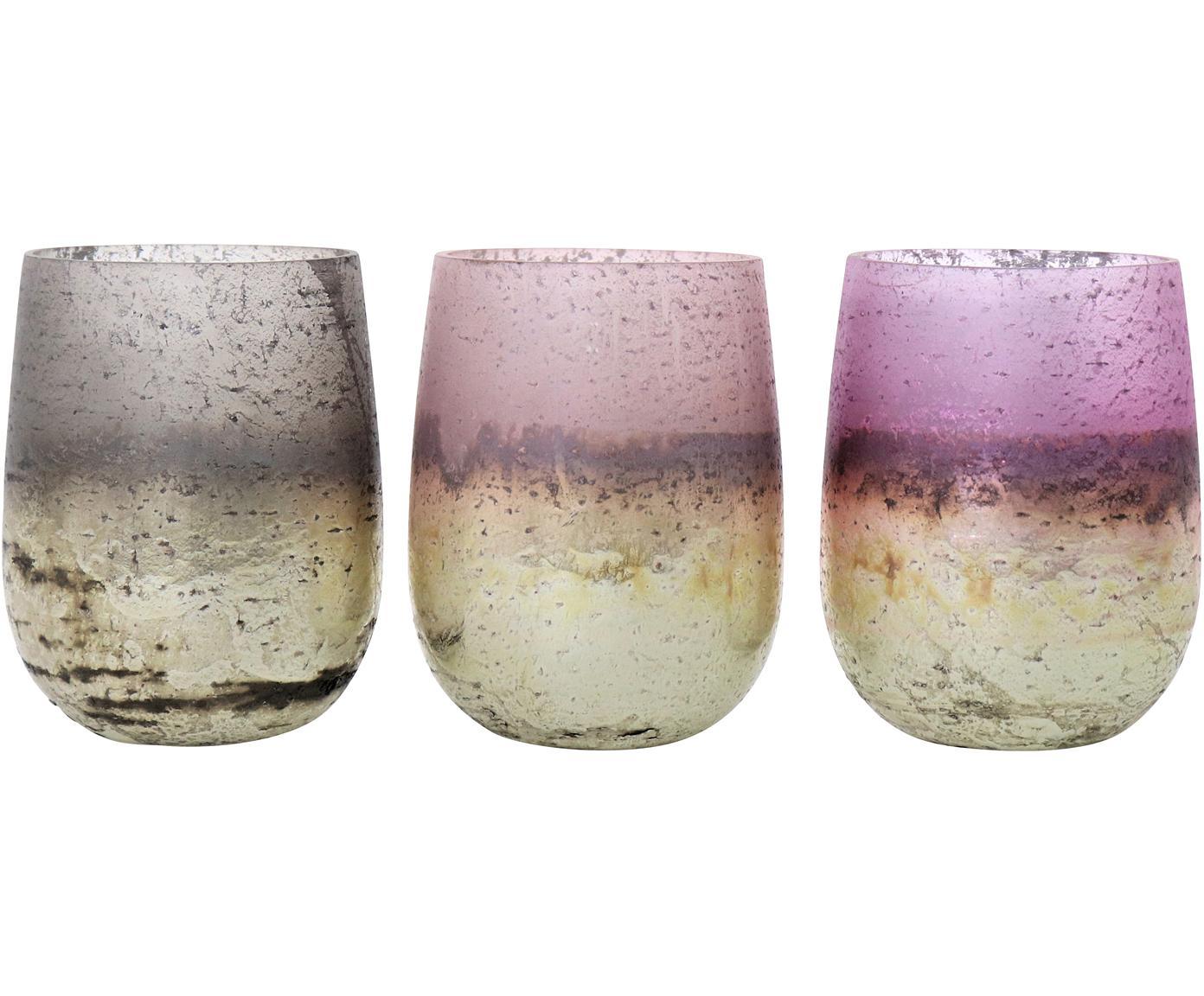 Windlichter-Set Jupiter, 3-tlg., Glas, Beigetöne, Lila, Ø 7 x H 10 cm