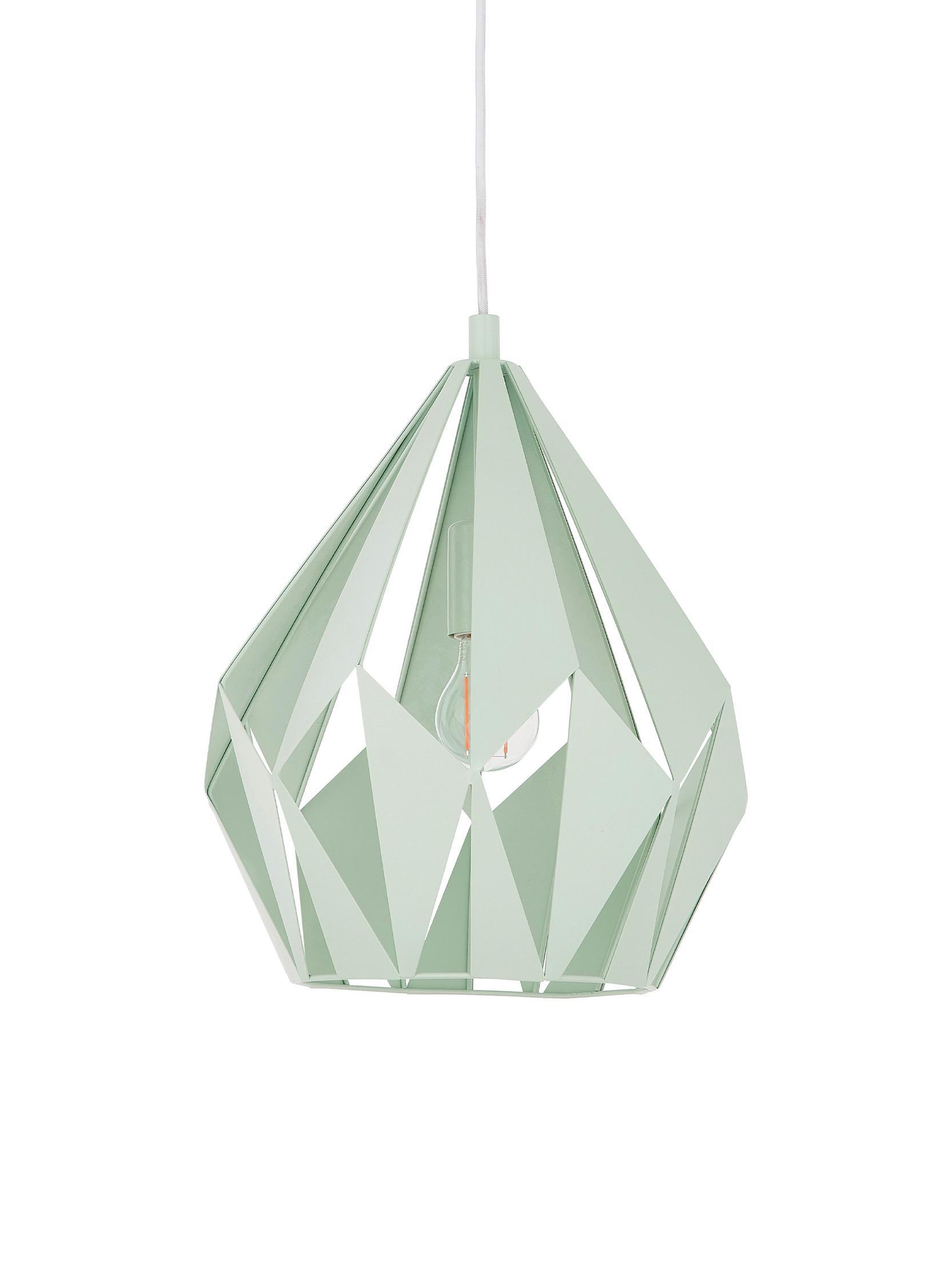 Lampada a sospensione stile nordico Carlton, Verde chiaro, Ø 31 x Alt. 40 cm