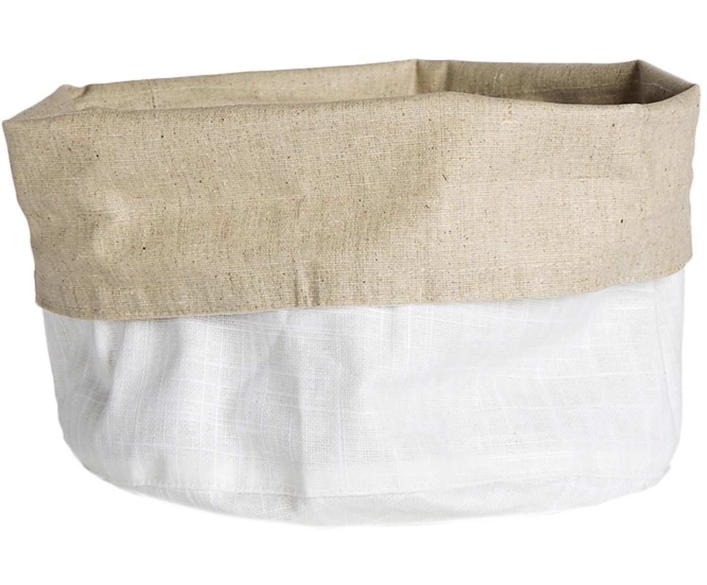 Panera pequeña de lino Patinn, 55%lino, 45%algodón, recubierto en poliuretano, Blanco, beige, Ø 16 x Al 20 cm