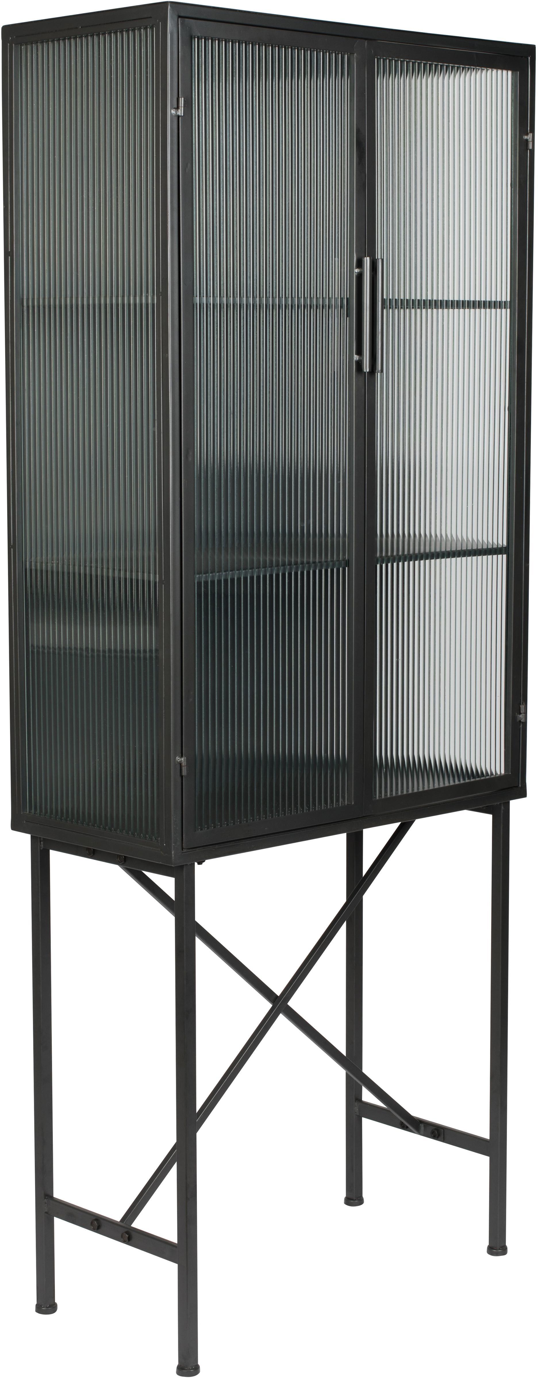 Vitrinenschrank Boli mit Rillenglas und Metallrahmen, Gestell: Metall, beschichtet, Front: Glas, Schwarz, Semi-Transparent, 70 x 178 cm