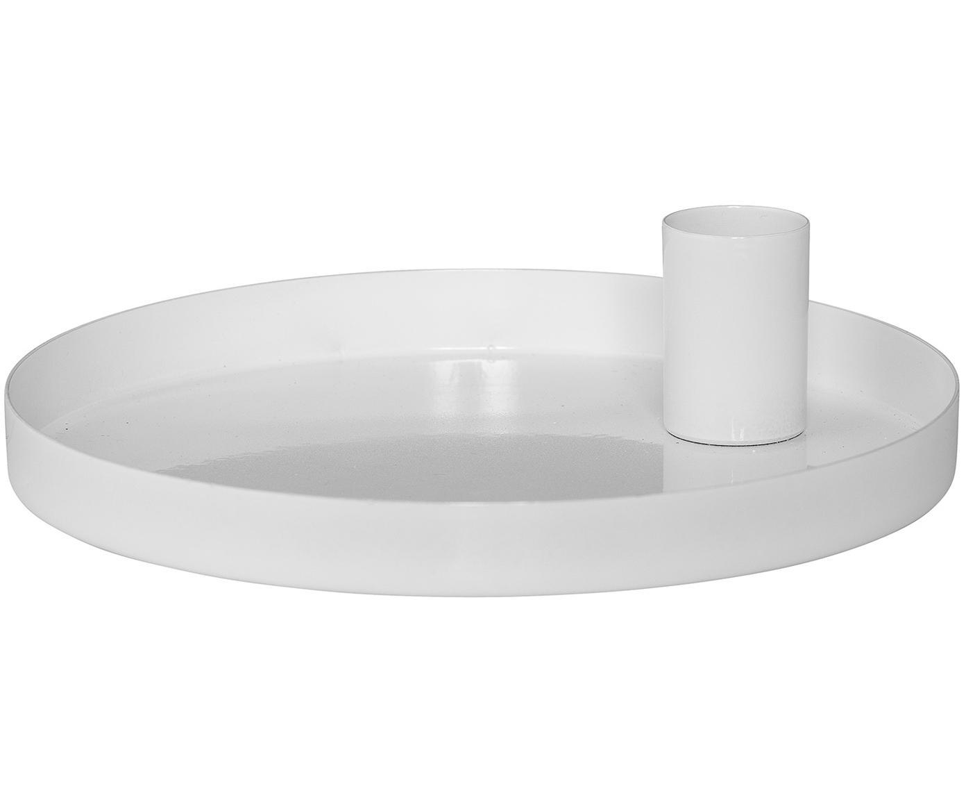 Kaarshouder Modern, Gecoat metaal, Wit, Ø 15 x H 4 cm