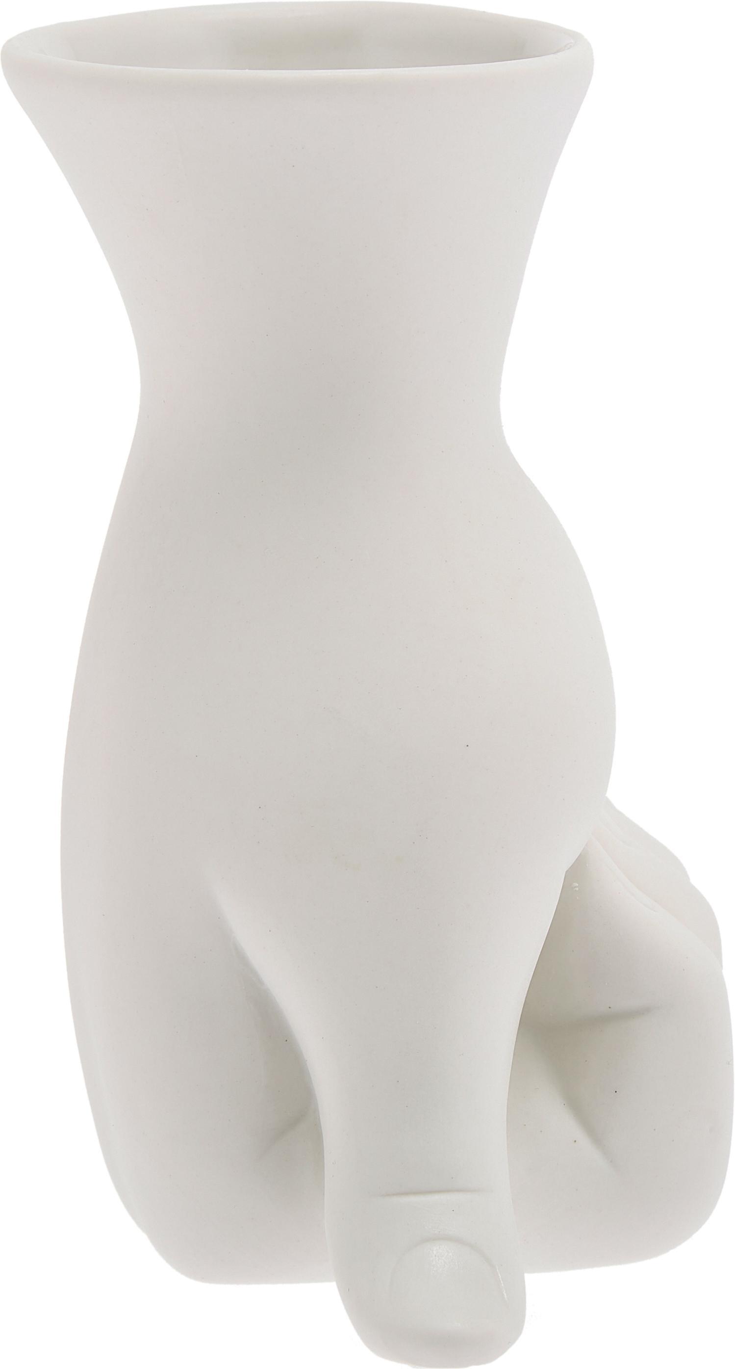 Jarrón de porcelana de diseño Marcel, diseñado por Jonathan Adler, Porcelana, Blanco, An 11 x Al 18 cm