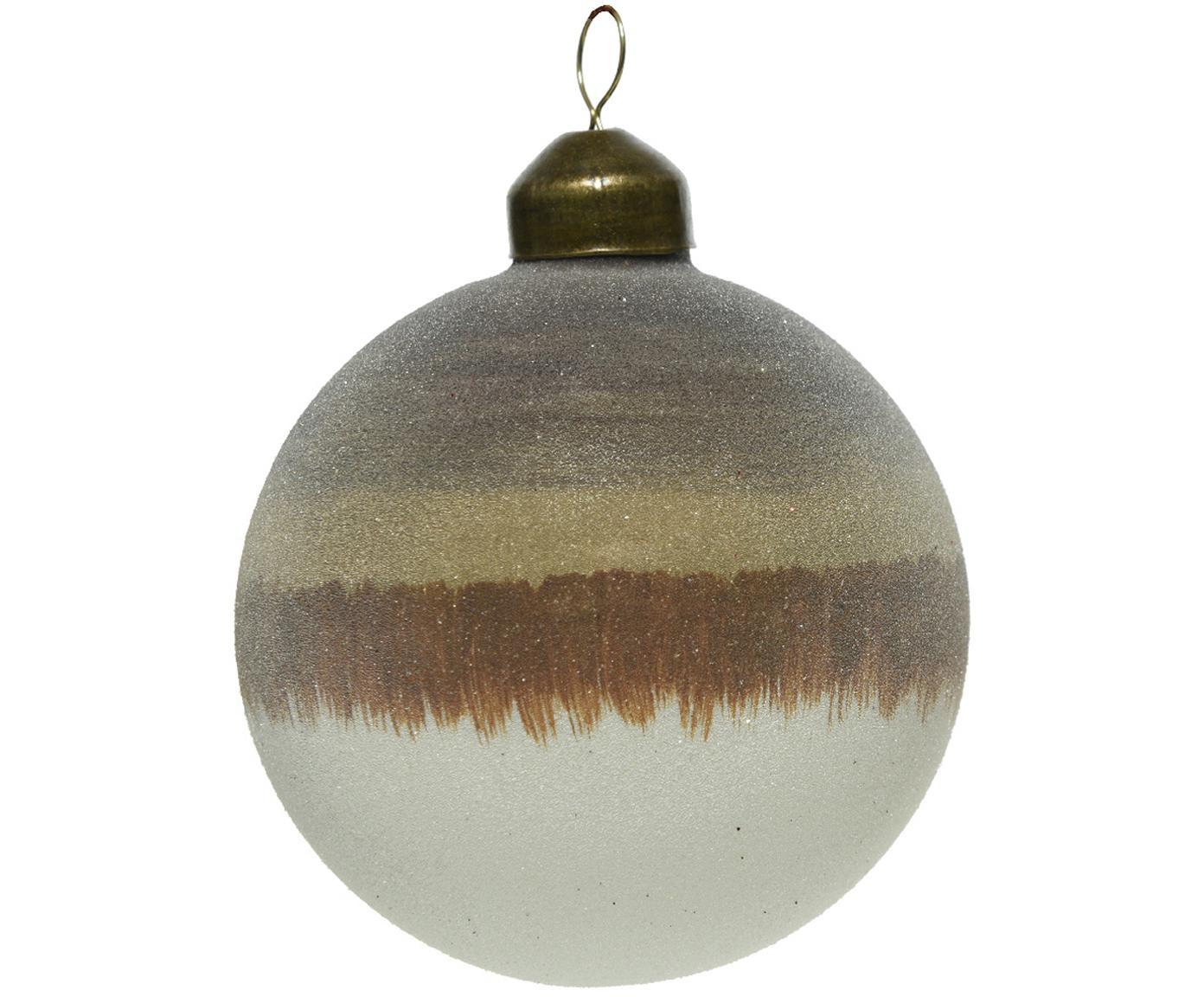 Kerstballen Organic, 2 stuks, Beige, bruin, wit, Ø 8 cm