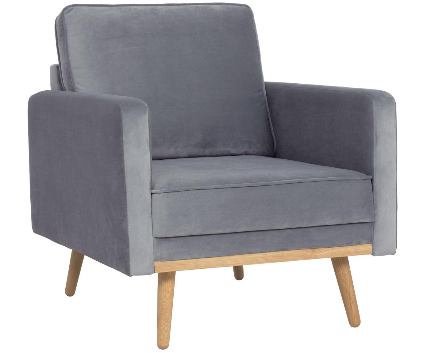 Fluwelen fauteuil Saint, Bekleding: fluweel (polyester), Frame: massief grenenhout, spaan, Bekleding: grijs. Poten en frame: eikenhoutkleurig, B 85 x D 76 cm