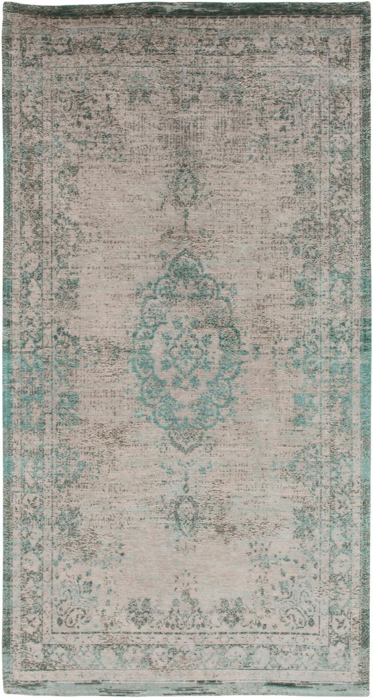 Vintage chenille vloerkleed Medaillon, Bovenzijde: chenille (katoen), Weeftechniek: jacquard, Onderzijde: chenille, gecoat met late, Groen, roze, B 80 x L 150 cm (maat XS)
