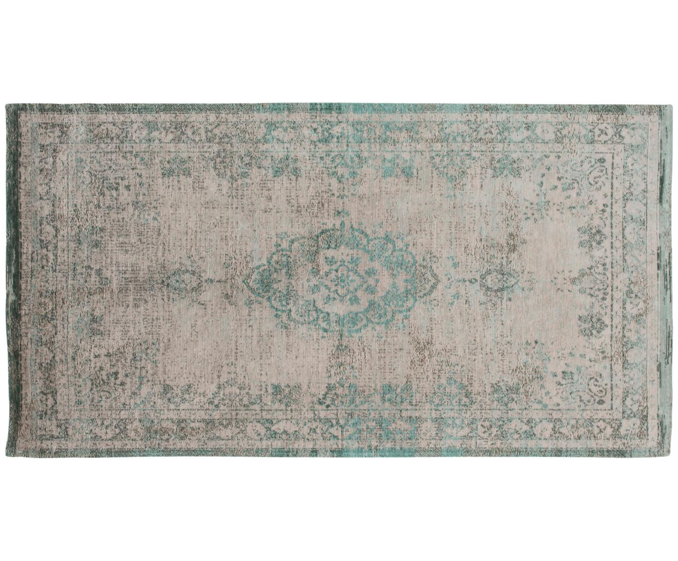Tappeto vintage in ciniglia Medaillon, Tessuto: Jacquard, Retro: Filato di ciniglia, rives, Verde, rosa, Larg. 80 x Lung. 150 cm (taglia XS)