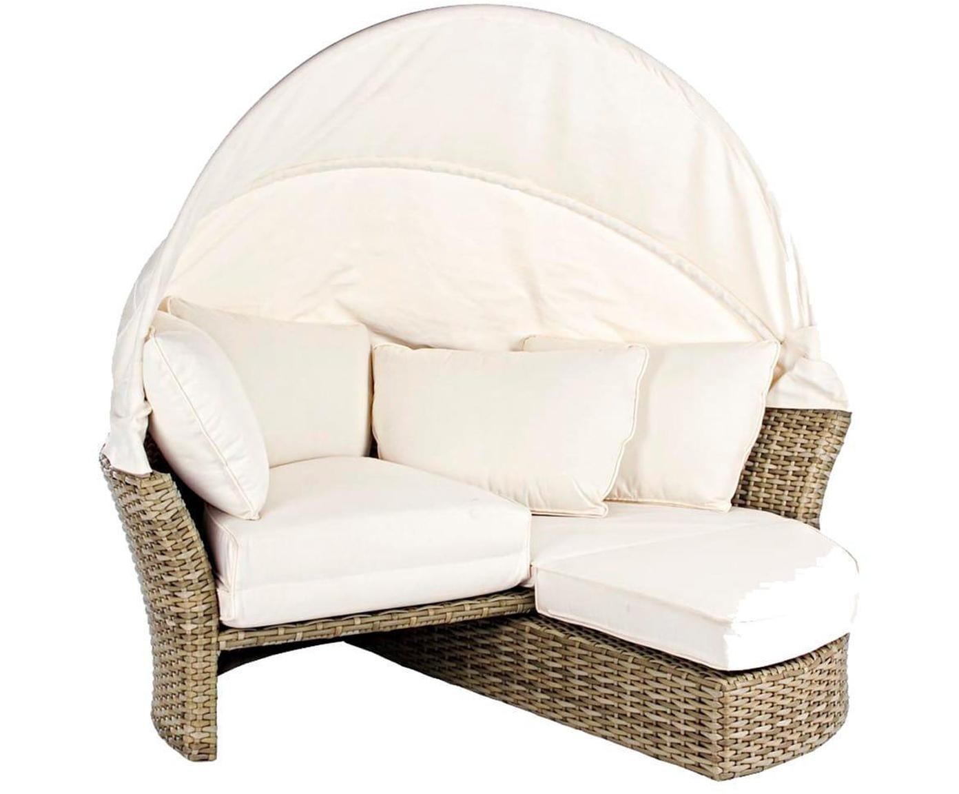 Sofá de exterior Lesly, Estructura: aluminio, polirratán, Blanco, beige, An 200 x Al 168 cm