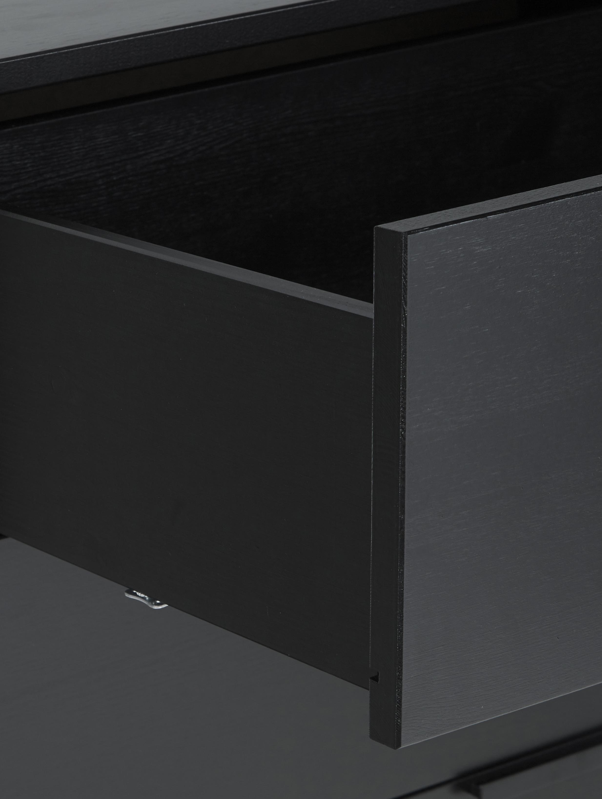Cassettiera in legno di pino nero Adam, Nero, Larg. 94 x Alt. 93 cm
