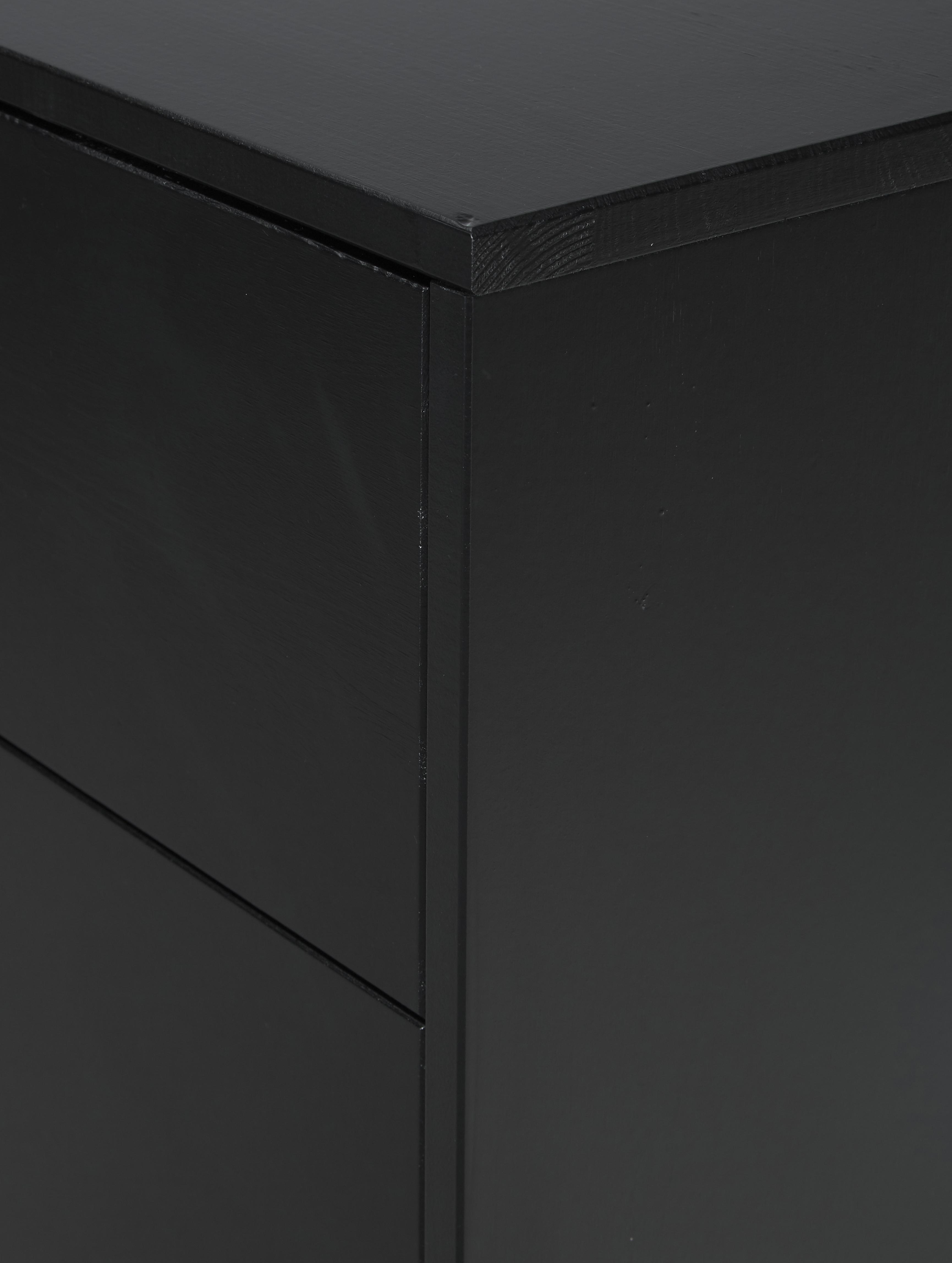 Zwarte ladekast Adam, Frame: grenenhout, Zwart, 94 x 93 cm