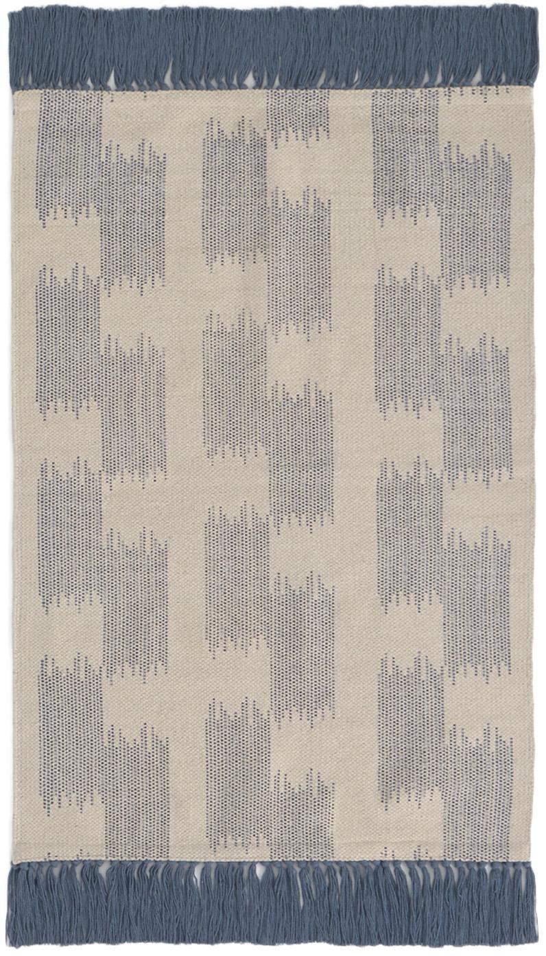 Teppich Fiji in Blau/Beige mit Fransen, 100% Baumwolle, Blau, Beige, B 60 x L 90 cm (Größe XXS)