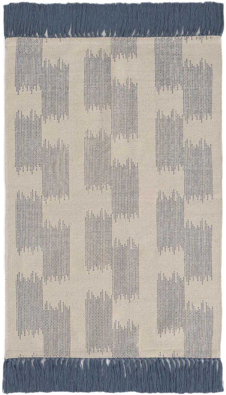 Alfombra con flecos Fiji, 100%algodón, Azul, beige, An 60 x L 90 cm (Tamaño XXS)