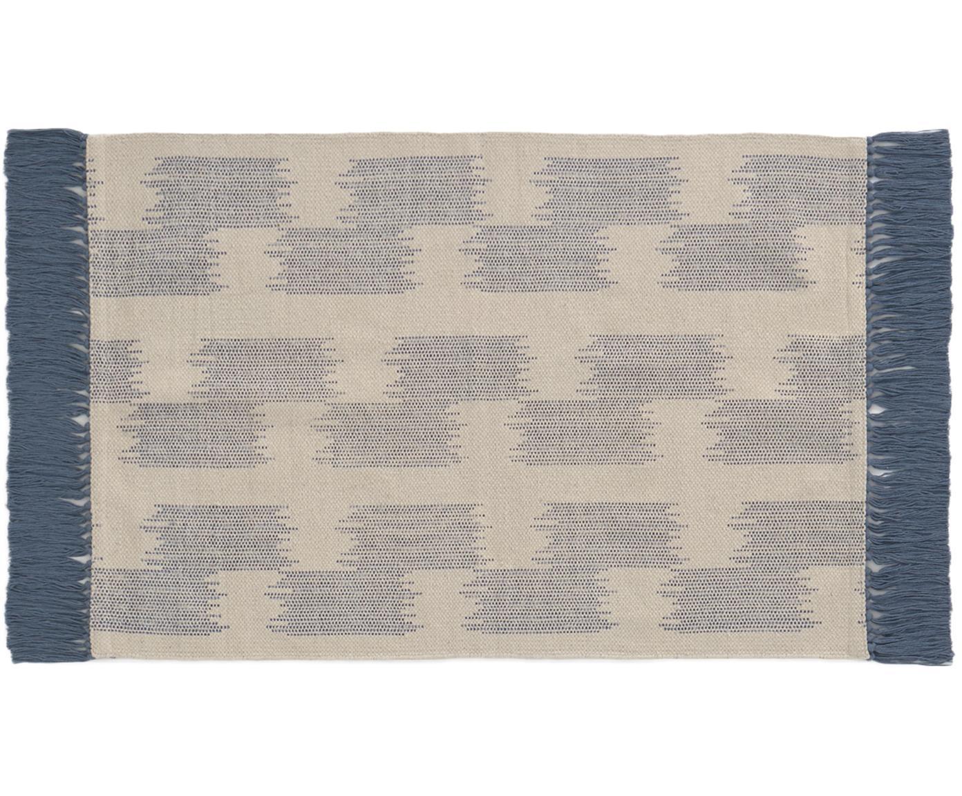 Alfombra con flecos Fiji, Algodón, Azul, beige, An 60 x L 90 cm (Tamaño XXS)
