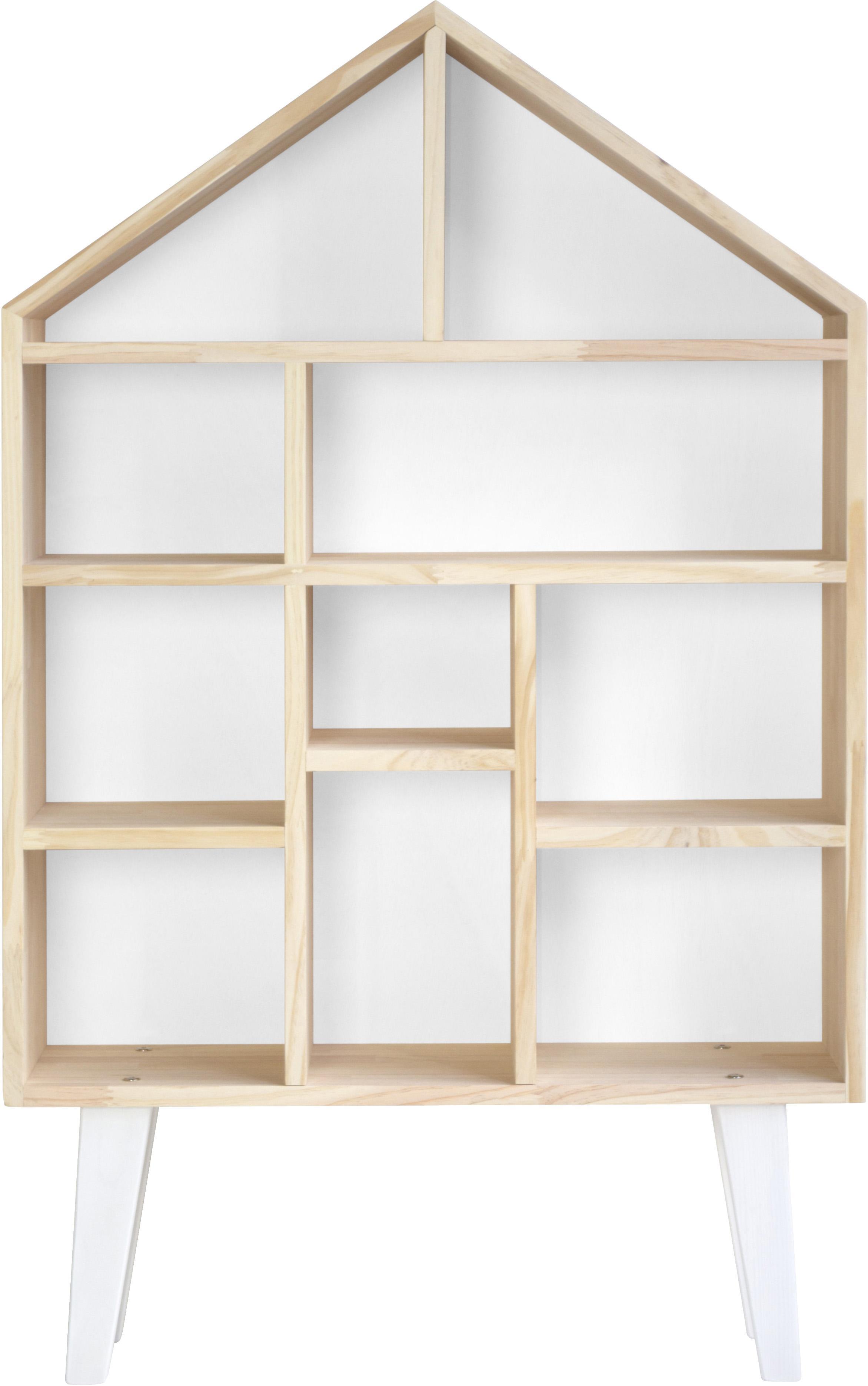 Estantería Blanca, Estantería: madera de pino, Madera de pino, blanco, An 75 x Al 120 cm