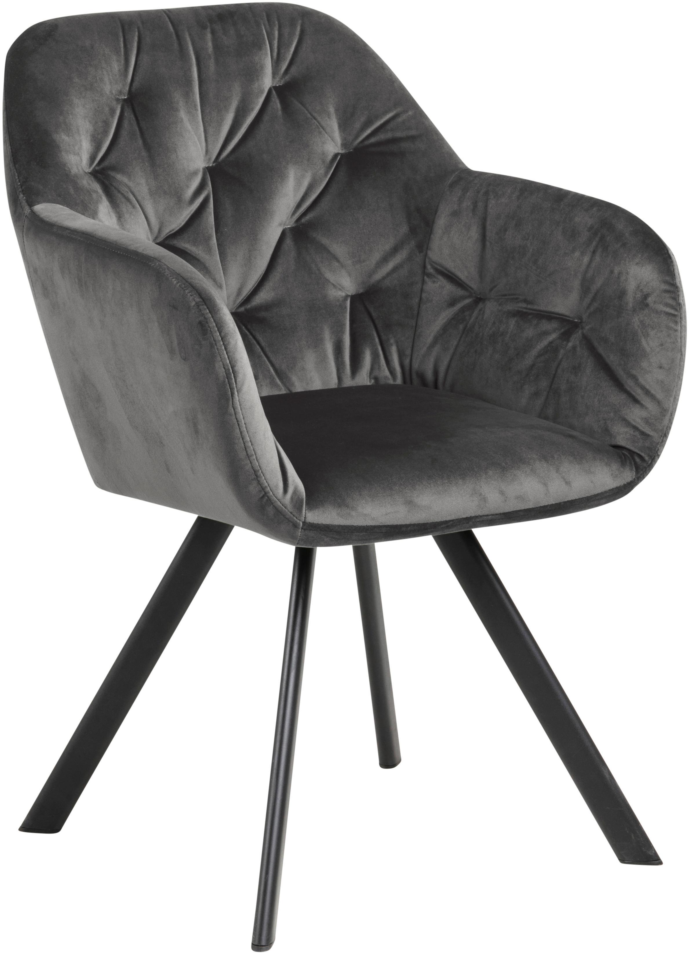Krzesło z podłokietnikami z aksamitu Lola, Tapicerka: aksamit poliestrowy 2500, Nogi: metal malowany proszkowo, Aksamitny ciemny szary, S 58 x G 62 cm