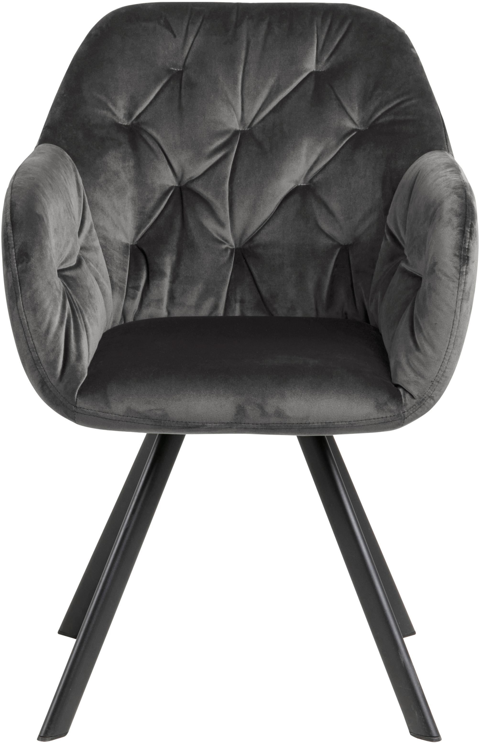 Poltrona in velluto Lola, Velluto di poliestere, metallo, Grigio scuro, nero, Larg. 58 x Prof. 62 cm