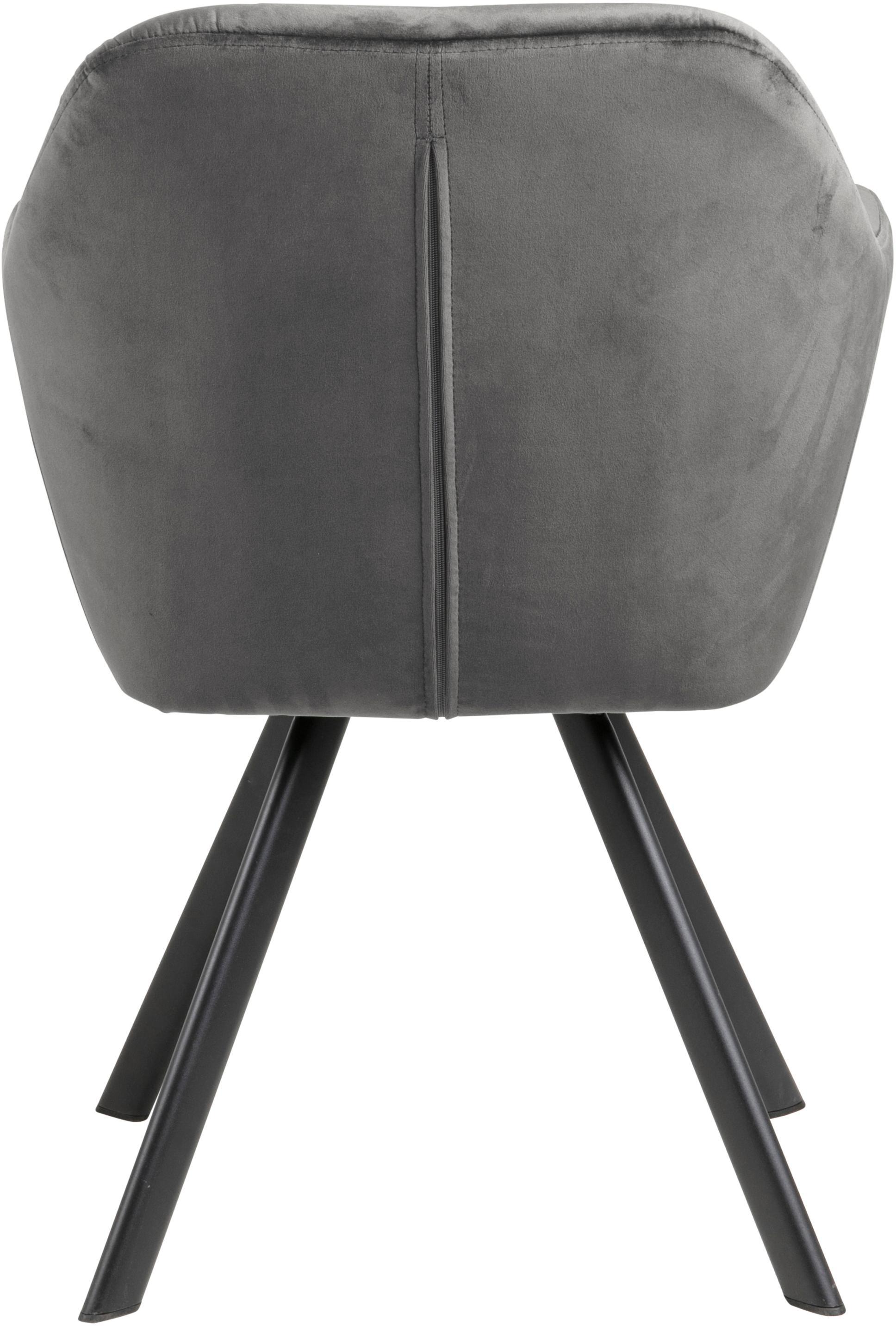 Chaise pivotante à accoudoirs Lucie, Gris foncé, noir
