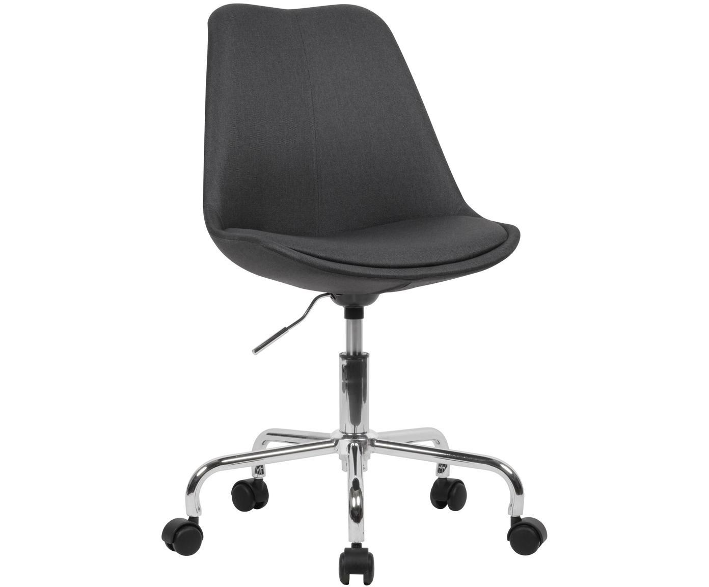 Bürodrehstuhl Lenka, höhenverstellbar, Bezug: Polyester, Gestell: Metall, verchromt, Webstoff Anthrazit, B 65 x T 56 cm