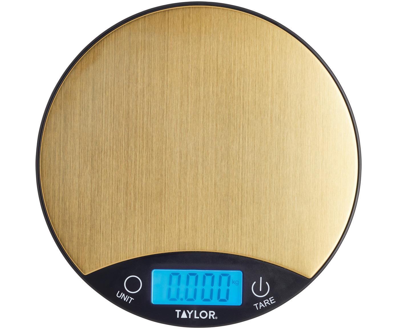 Balanza de cocina digital Garda, Acero inoxidable, Dorado, negro, Ø 20 cm