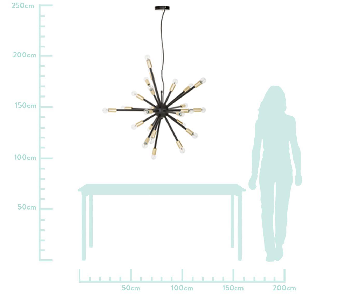 Grote hanglamp Spike in zwart en goudkleurig, Baldakijn: gecoat metaal, Lampenkap: gecoat metaal, Fitting: geborsteld metaal, Zwart, goudkleurig, Ø 90 cm