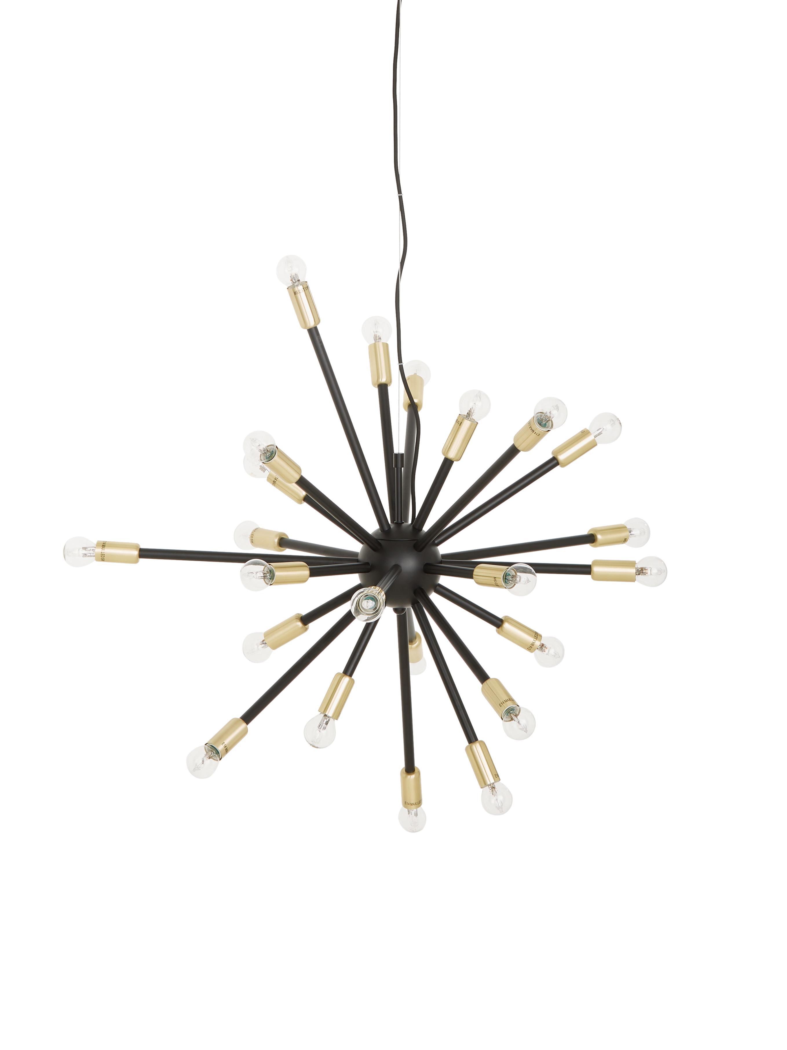 Grosse Pendelleuchte Spike in Schwarz und Gold, Baldachin: Metall, beschichtet, Lampenschirm: Metall, beschichtet, Schwarz, Goldfarben, Ø 90 cm