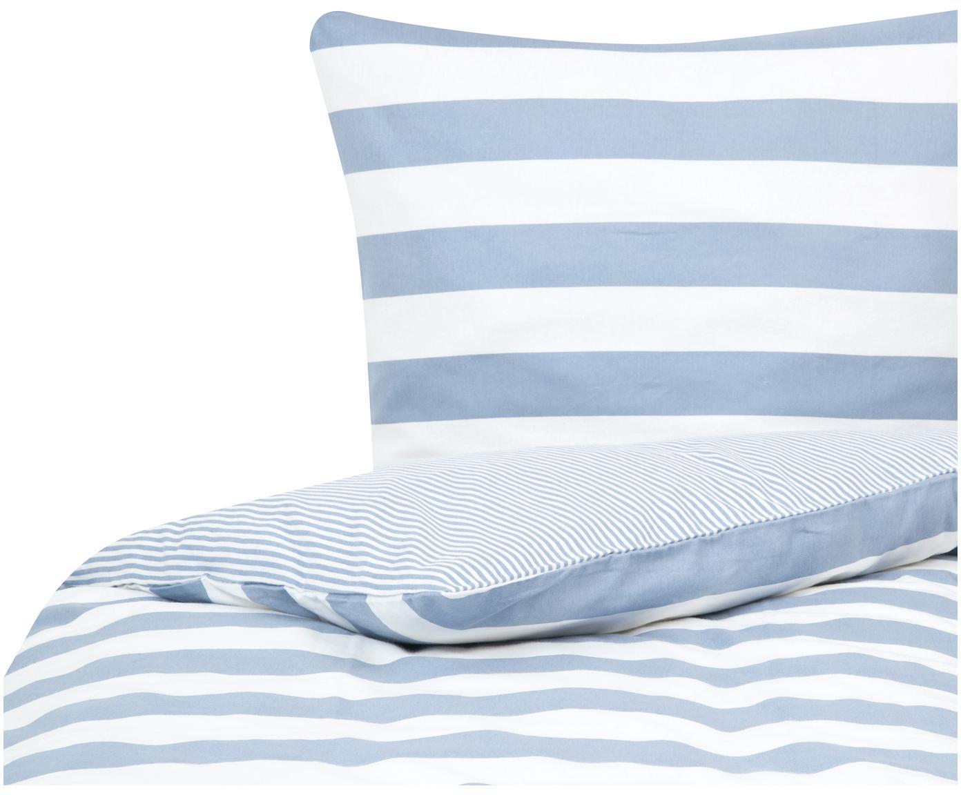 Dwustronna pościel z cienkiej flaneli Tyler, Biały, jasny niebieski, 135 x 200 cm