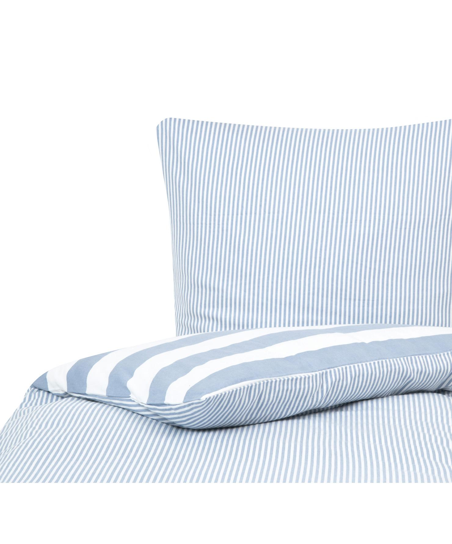 Flanell-Wendebettwäsche Dora, gestreift, Webart: Flanell Flanell ist ein s, Weiss, Hellblau, 135 x 200 cm + 1 Kissen 80 x 80 cm