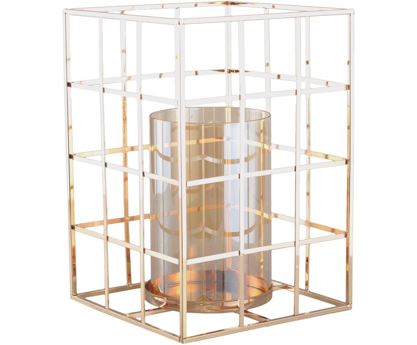 Portacandela Kubic, Struttura: metallo, Portacandela: vetro, Dorato, Larg. 17 x Alt. 24 cm