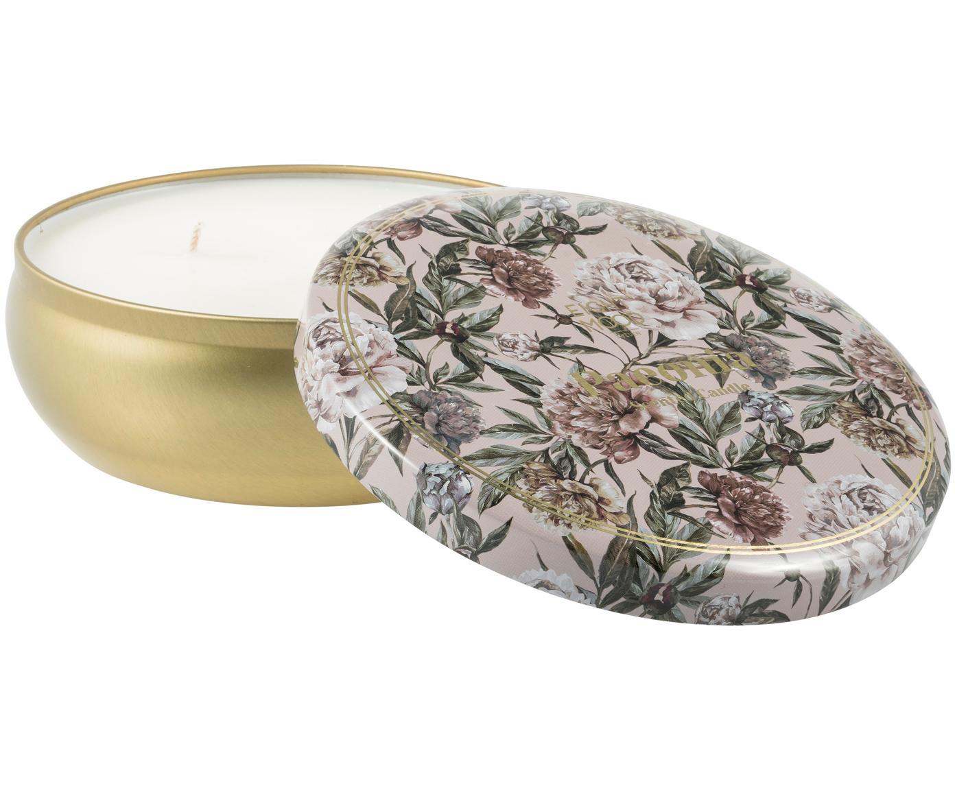 Świeca zapachowa z trzema knotami Secret Garden (pomarańcza, kokos, grejpfrut i gruszka), Odcienie mosiądzu, beżowy, zielony, brudny różowy, Ø 13 x W 6 cm