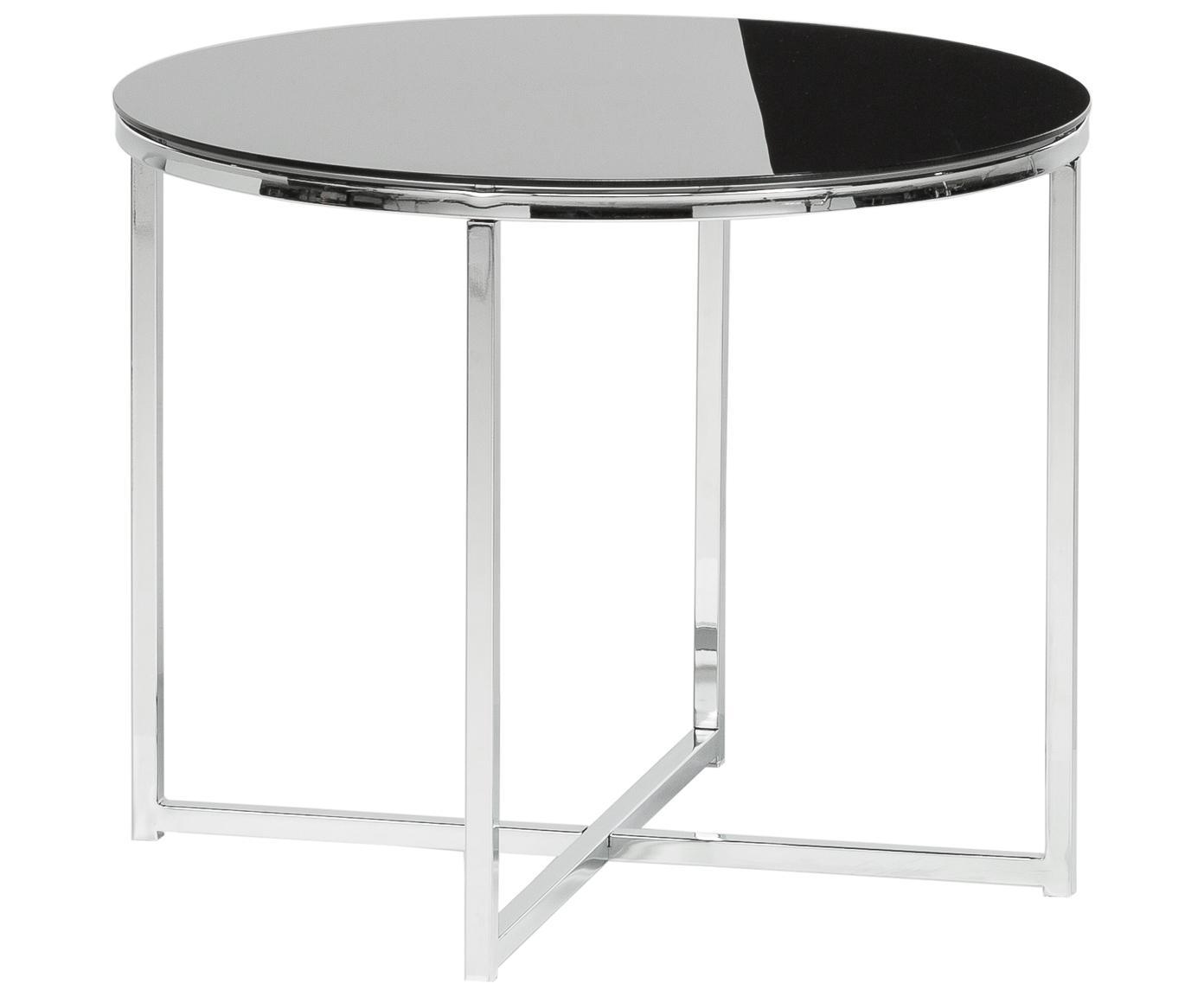 Bijzettafel Cross met zwart glazen tafelblad, Tafelblad: glas, Zwart, verchroomd metaalkleurig, Ø 55 x H 45 cm