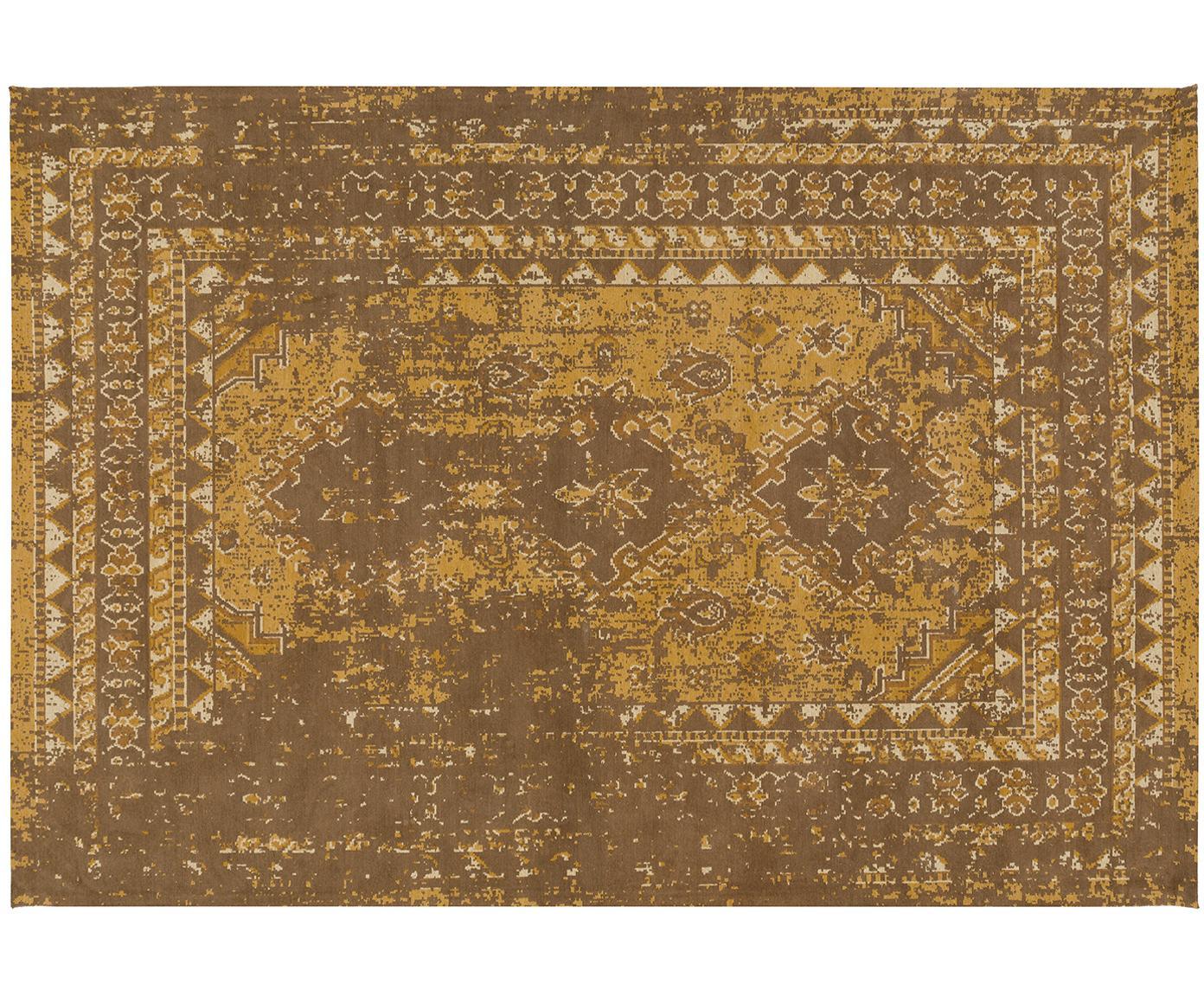 Vintage Chenilleteppich Rebel in Senfgelb, Flor: 95% Baumwolle, 5% Polyest, Gelb, Creme, Braun, B 160 x L 230 cm (Größe M)