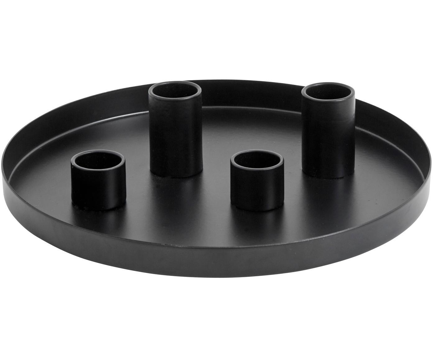 Kandelaar Cups, Gepoedercoat metaal, Zwart, Ø 20 x H 5 cm