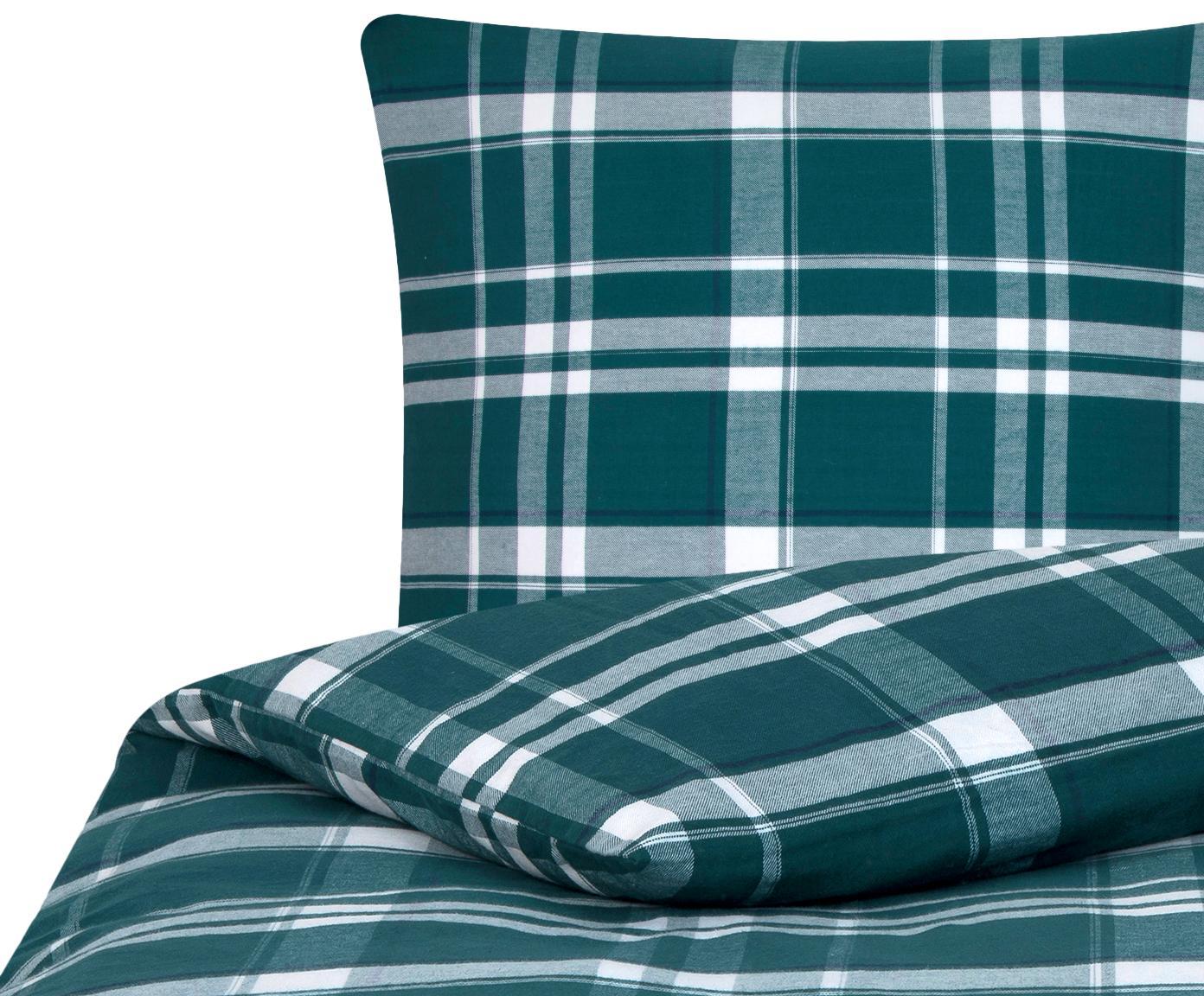 Flanell-Bettwäsche Rolf, kariert, Webart: Flanell Flanell ist ein s, Grün, 135 x 200 cm