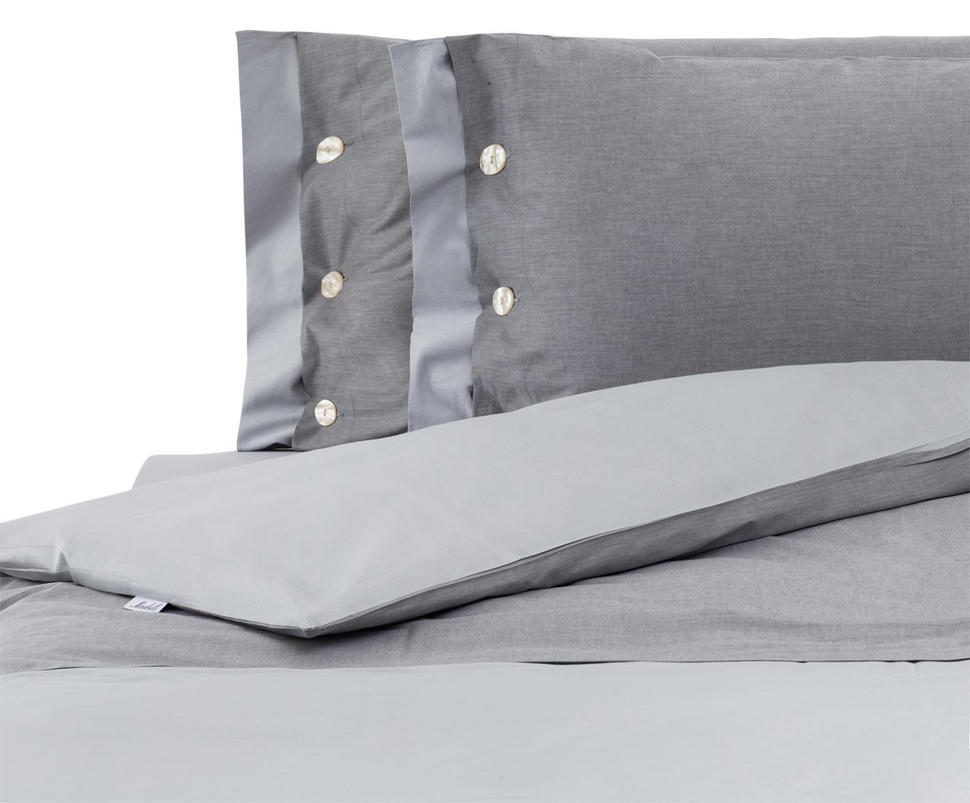 Completo copripiumino in raso di cotone Charme, Raso di cotone, Grigio chiaro, grigio, 200 x 255 cm