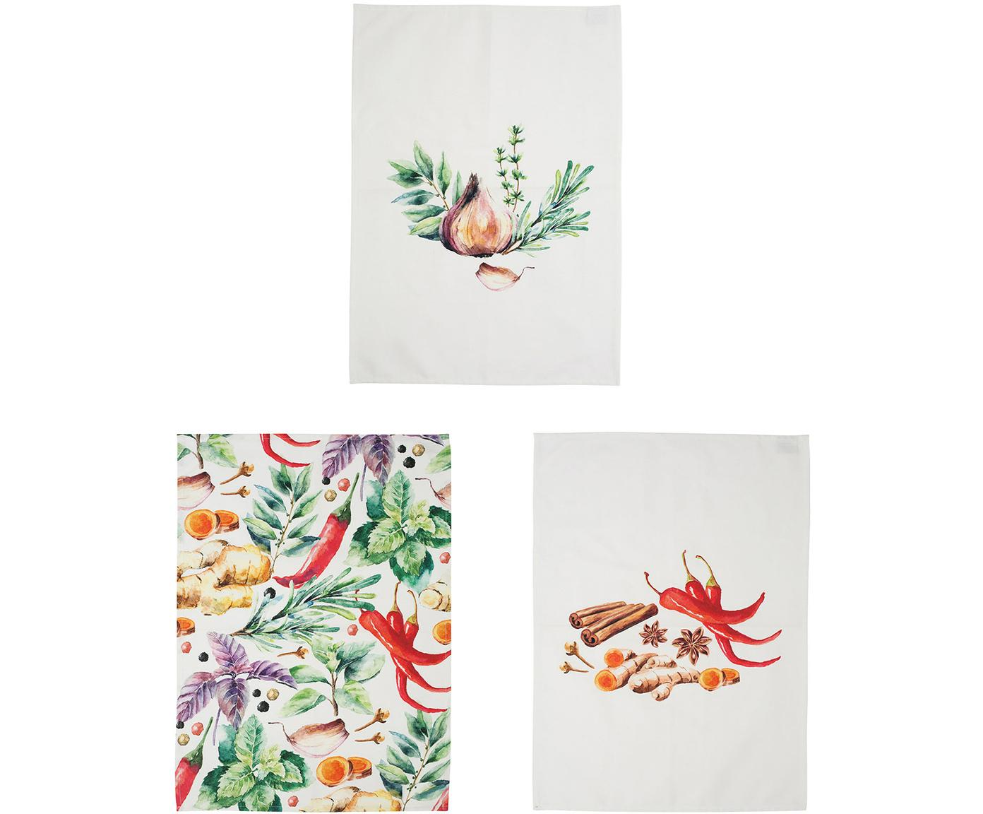 Theedoekenset Epices met kruidenmotieven, 3-delig, Katoen, Wit, groen, rood, 50 x 70 cm